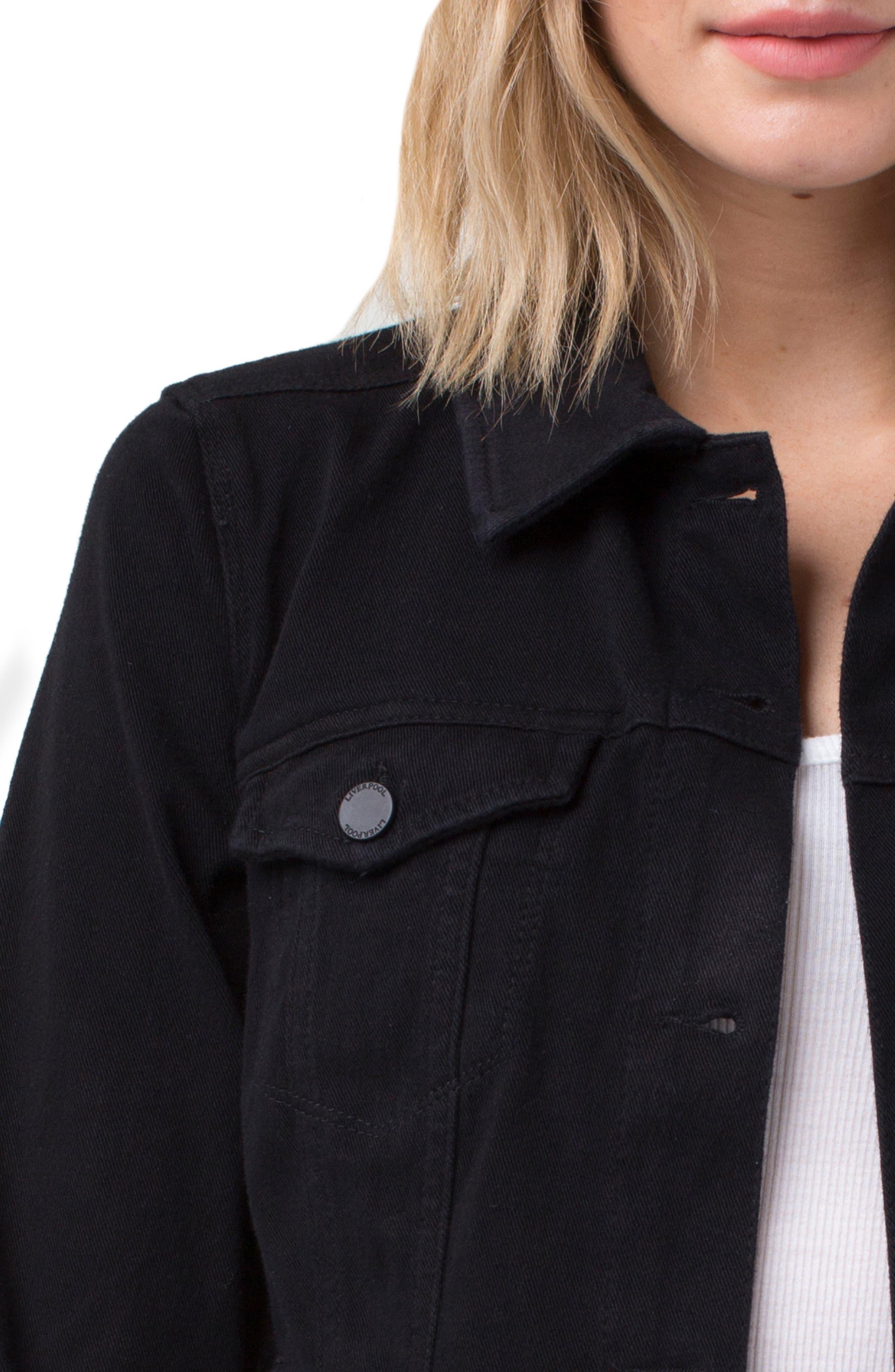 Jeans Co. Knit Denim Jacket,                             Alternate thumbnail 5, color,                             001