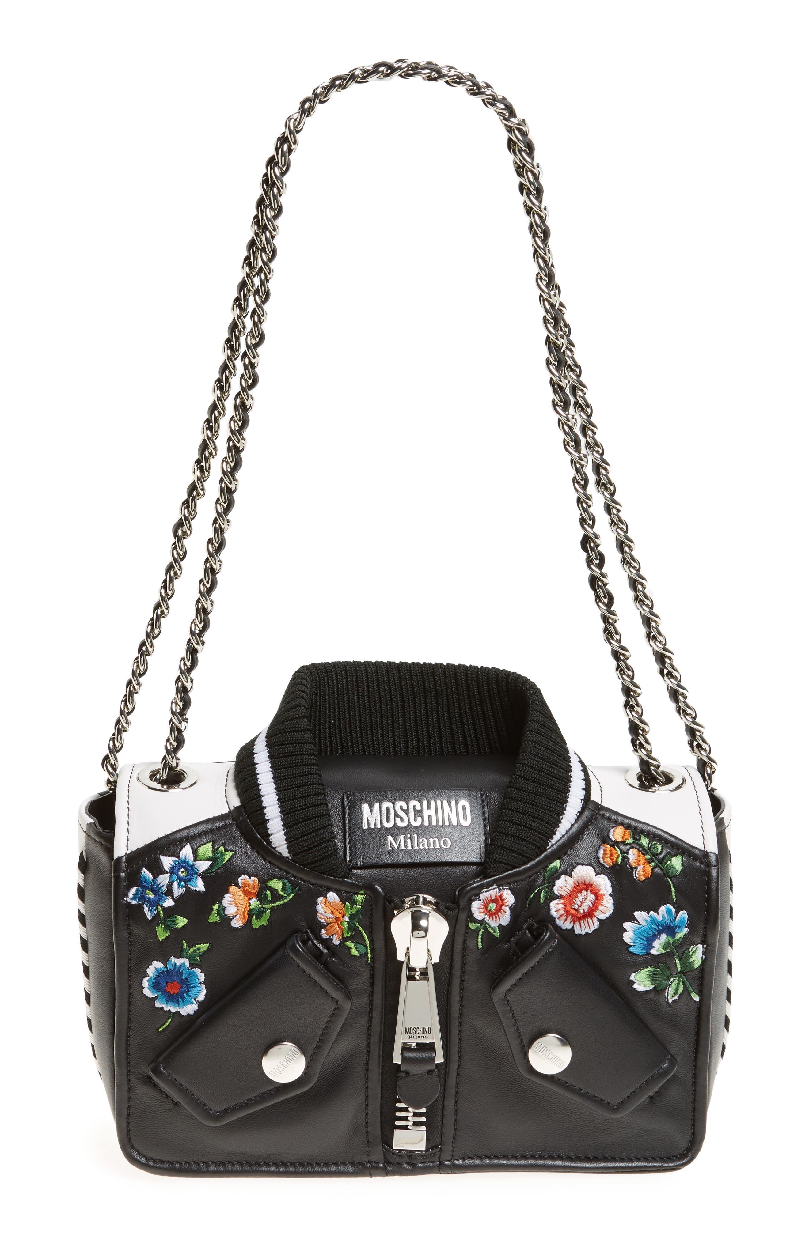 Embroidered Floral Bomber Jacket Leather Shoulder Bag,                             Main thumbnail 1, color,                             BLACK