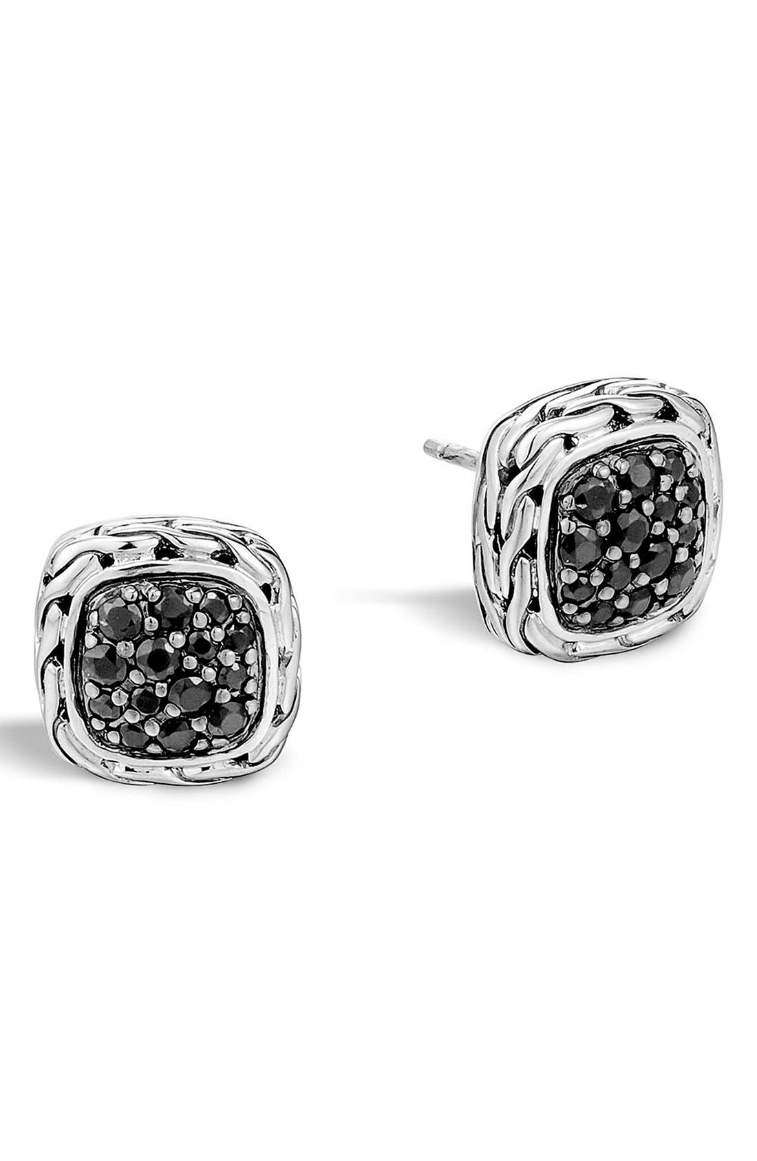 'Classic Chain' Small Square Stud Earrings,                             Main thumbnail 1, color,                             BLACK SAPPHIRE