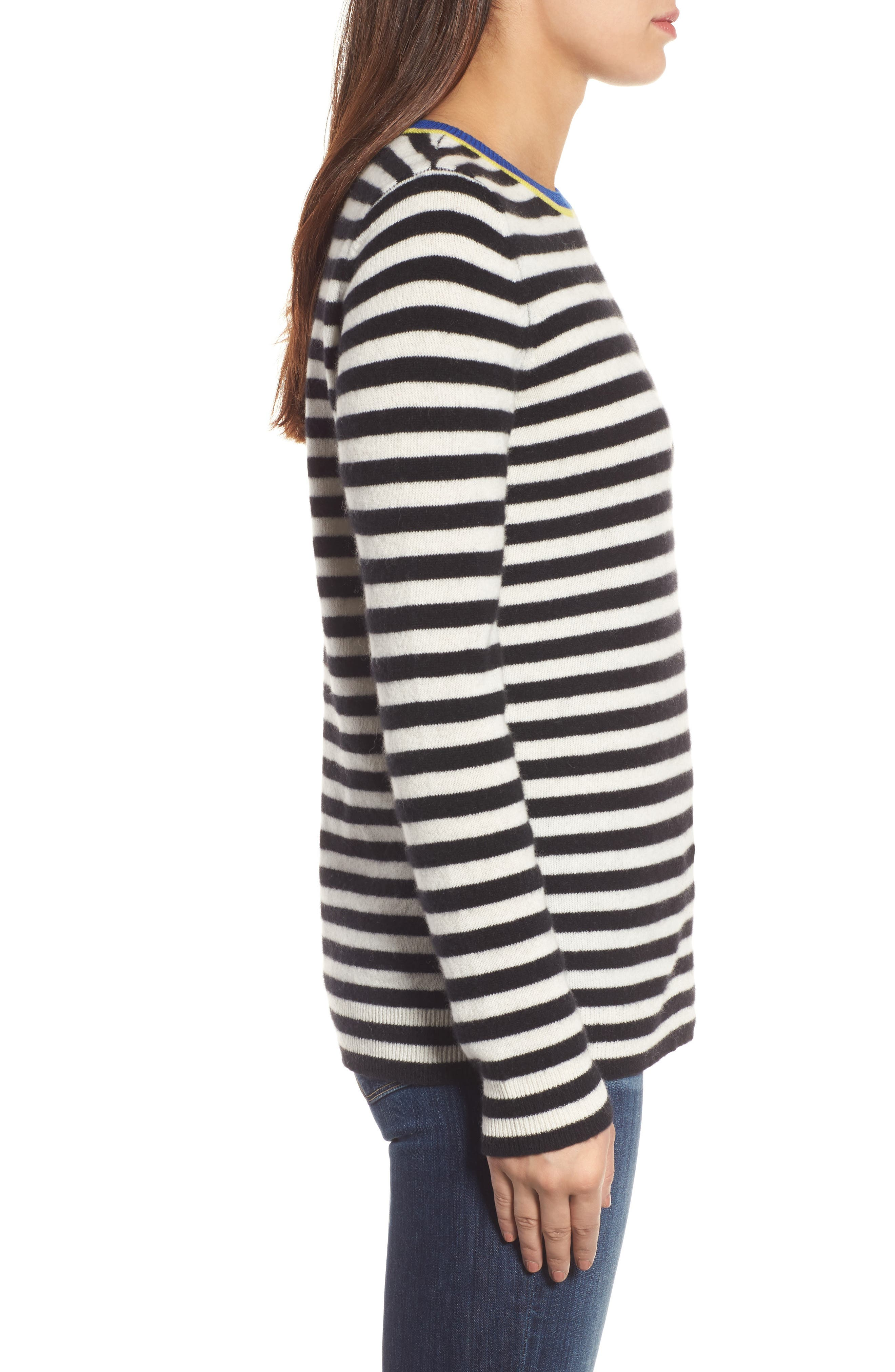 Stripe Cashmere Sweater,                             Alternate thumbnail 3, color,                             001