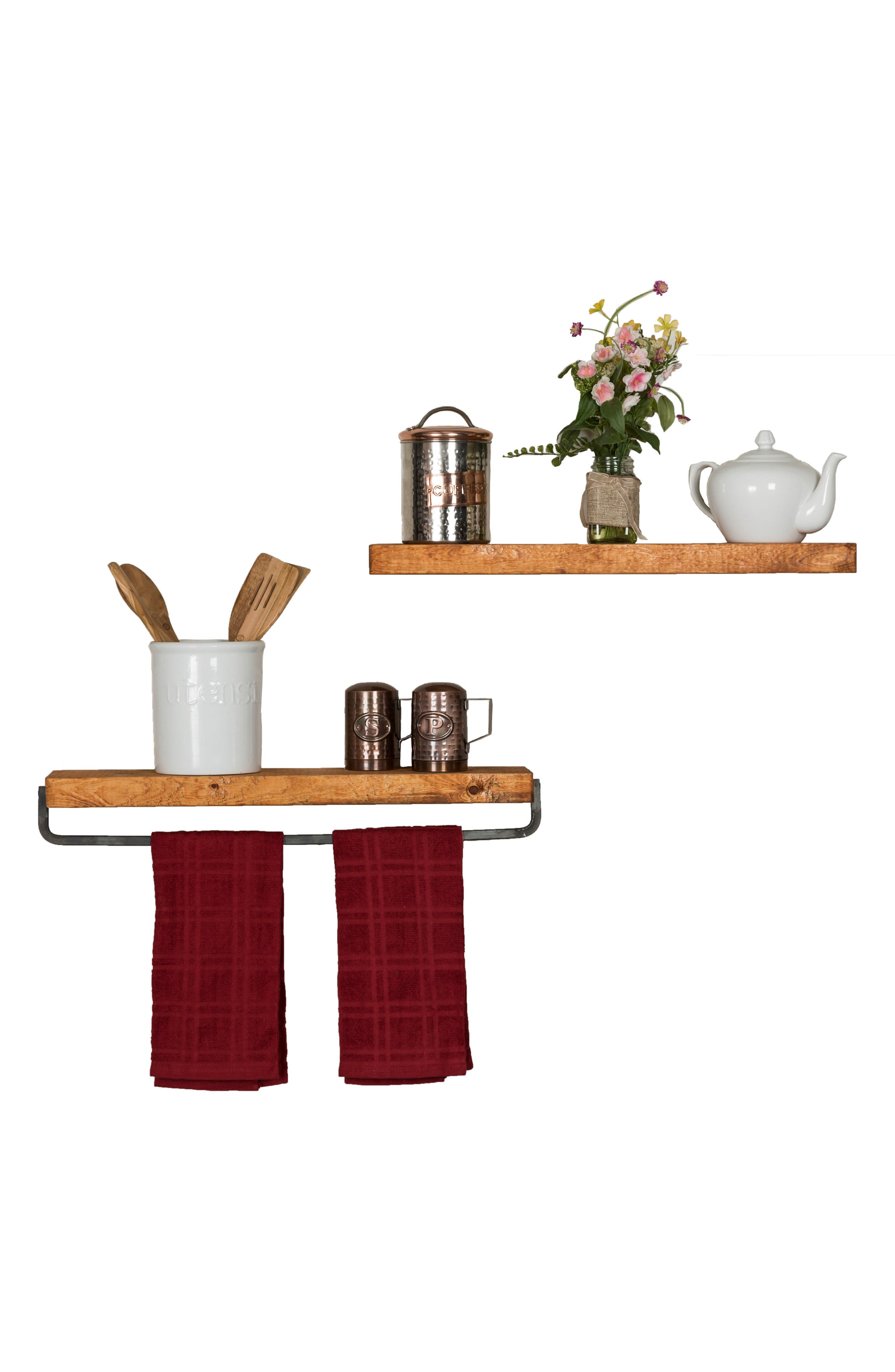 Set of 2 Floating Shelves with Towel Rack,                             Alternate thumbnail 7, color,
