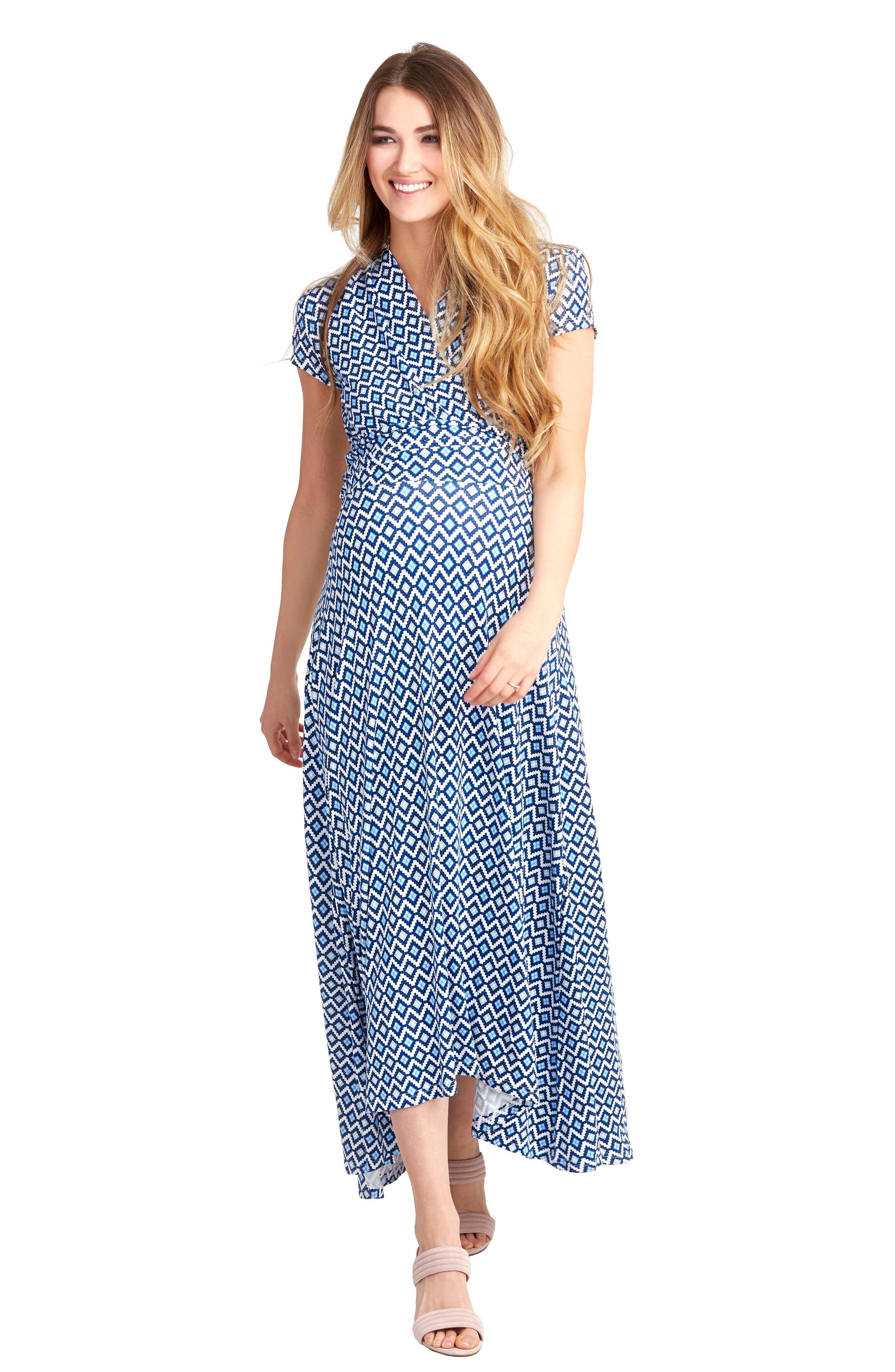 'Caroline' Maternity/Nursing Maxi Dress,                             Alternate thumbnail 4, color,                             BLUE GEO