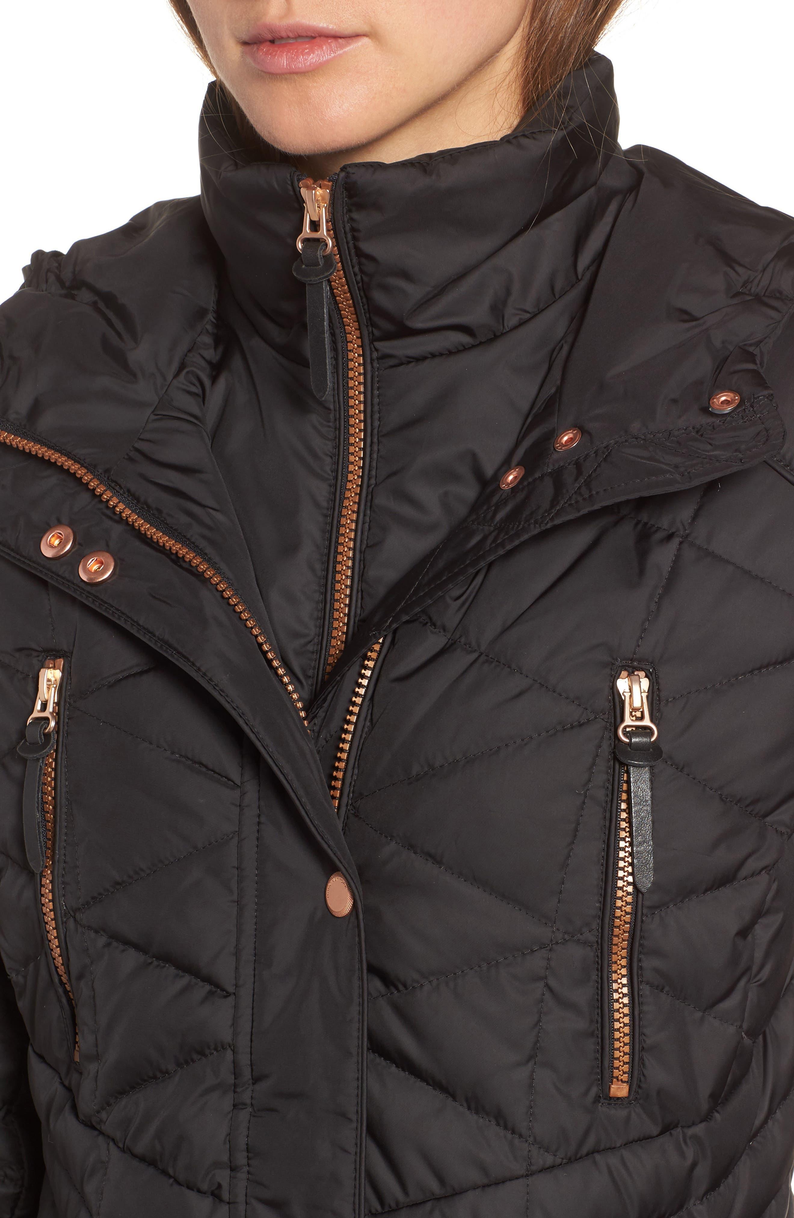 Marley 30 Coat with Detachable Faux Fur,                             Alternate thumbnail 4, color,                             001