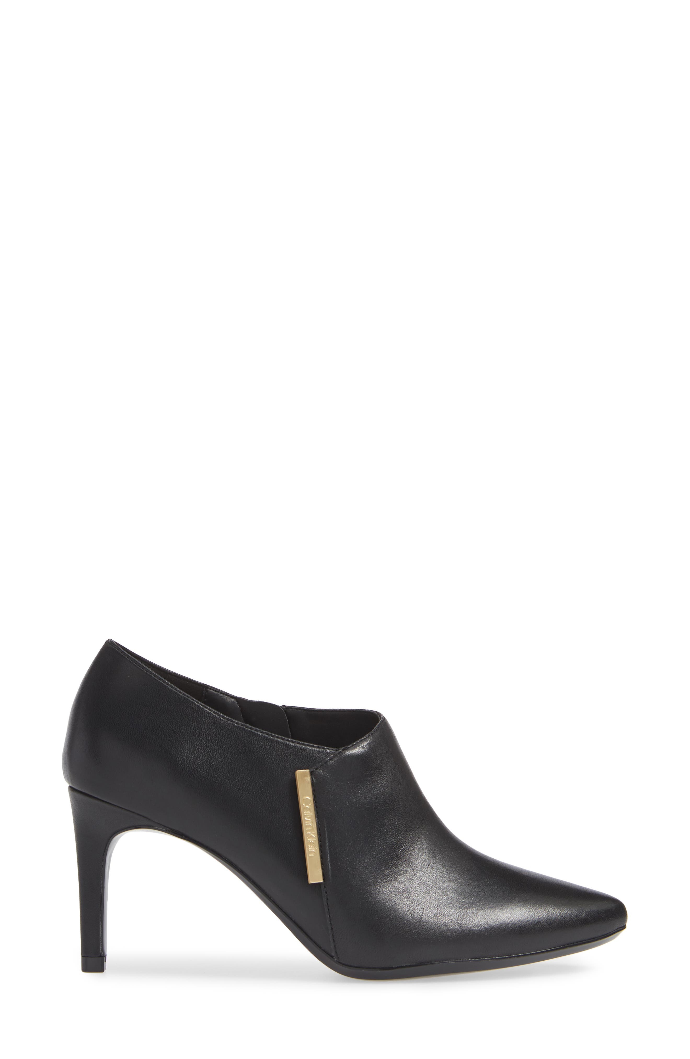 Jeanna Bootie,                             Alternate thumbnail 3, color,                             BLACK LEATHER