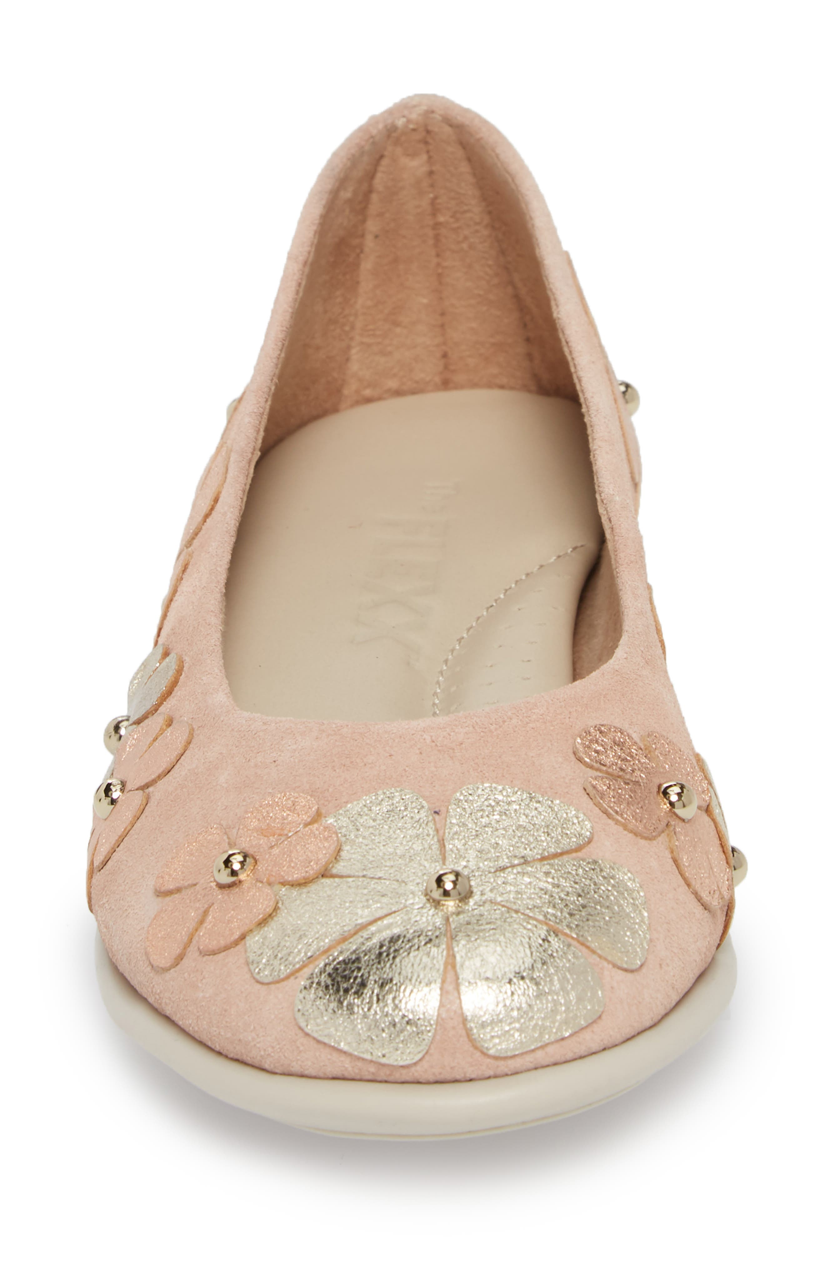 Miss Hippie Ballerina Flat,                             Alternate thumbnail 4, color,                             ROSE GOLD LEATHER