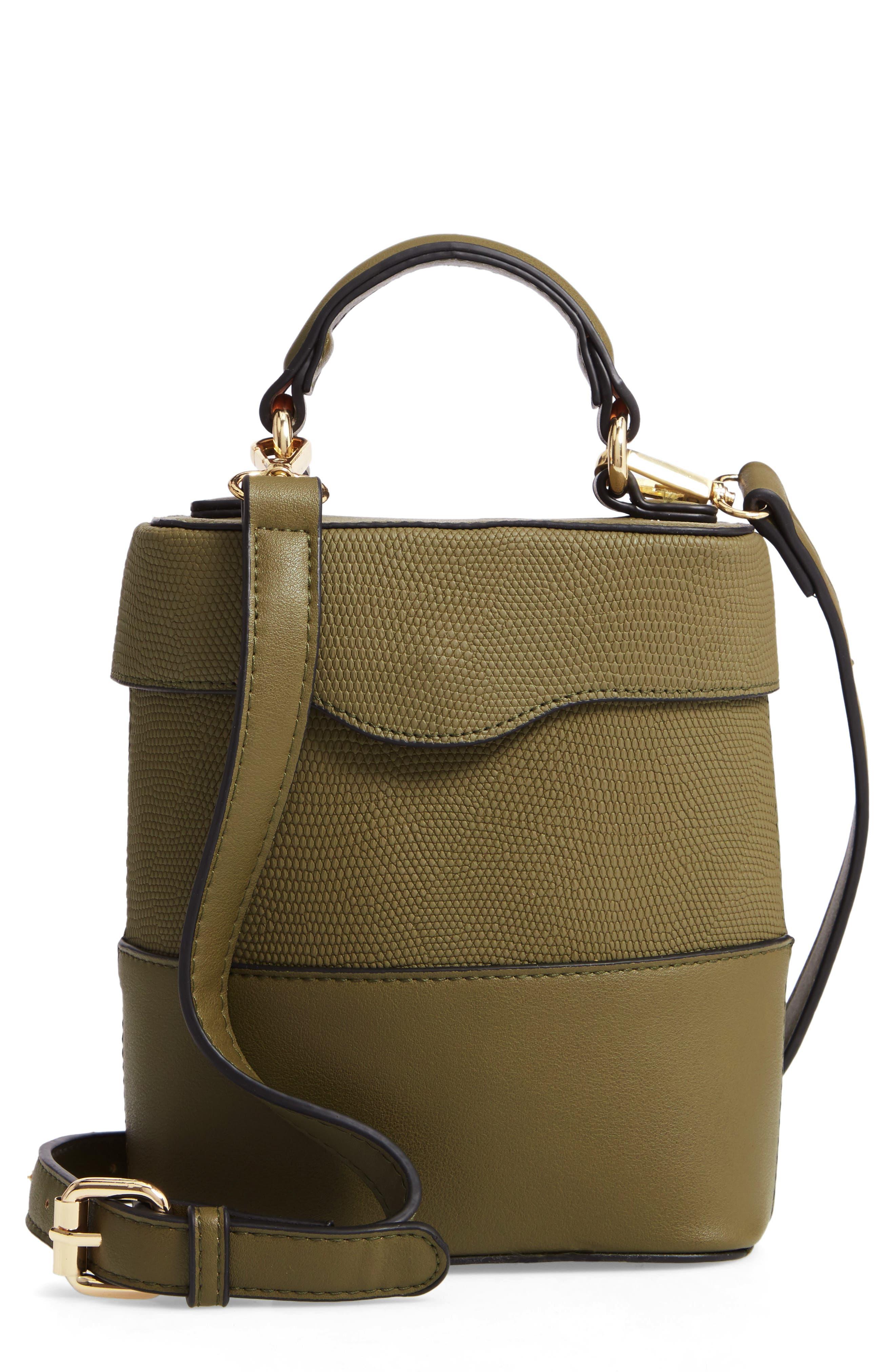 Bicolor Faux Leather Cylinder Bag,                             Main thumbnail 1, color,                             OLIVE