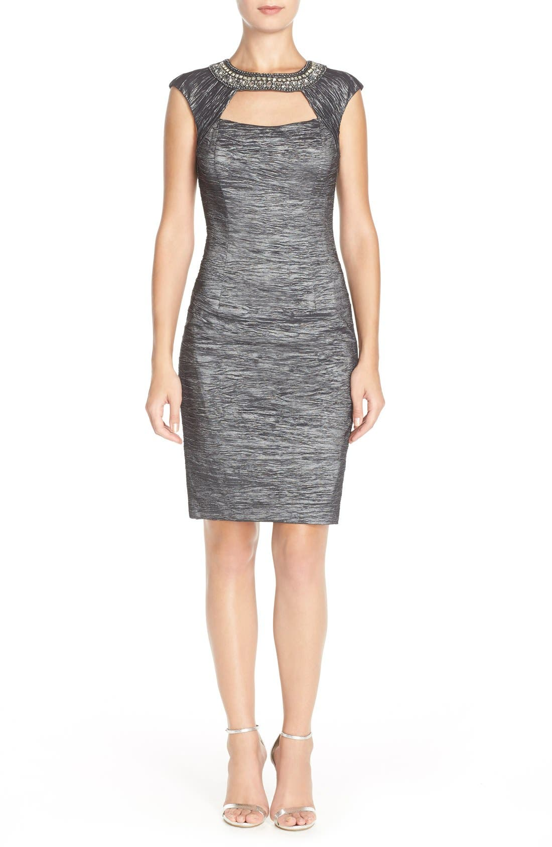 Embellished Crushed Taffeta Sheath Dress,                         Main,                         color, 023