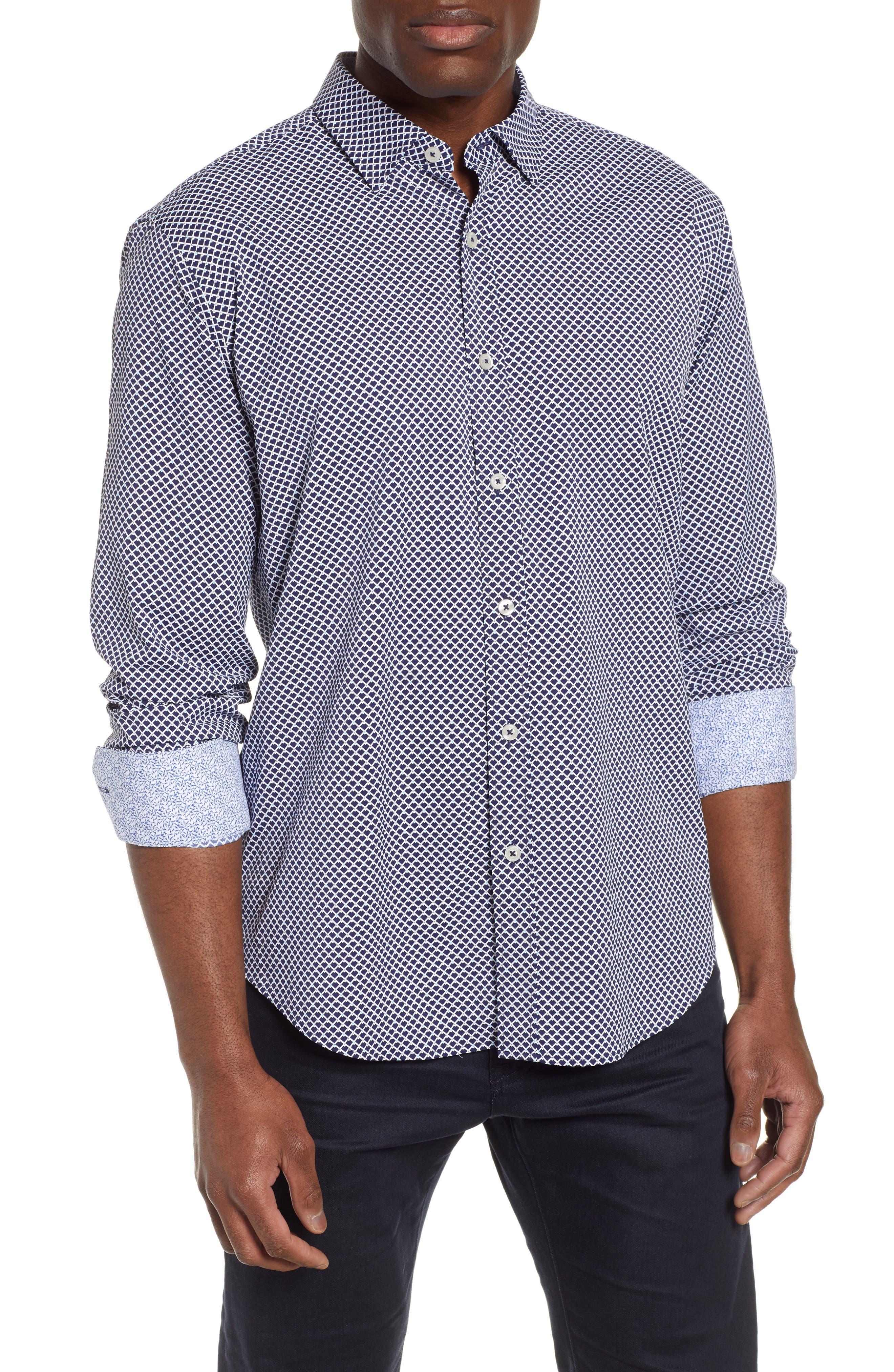 men's bugatchi shaped fit print performance sport shirt, size xxx-large - blue