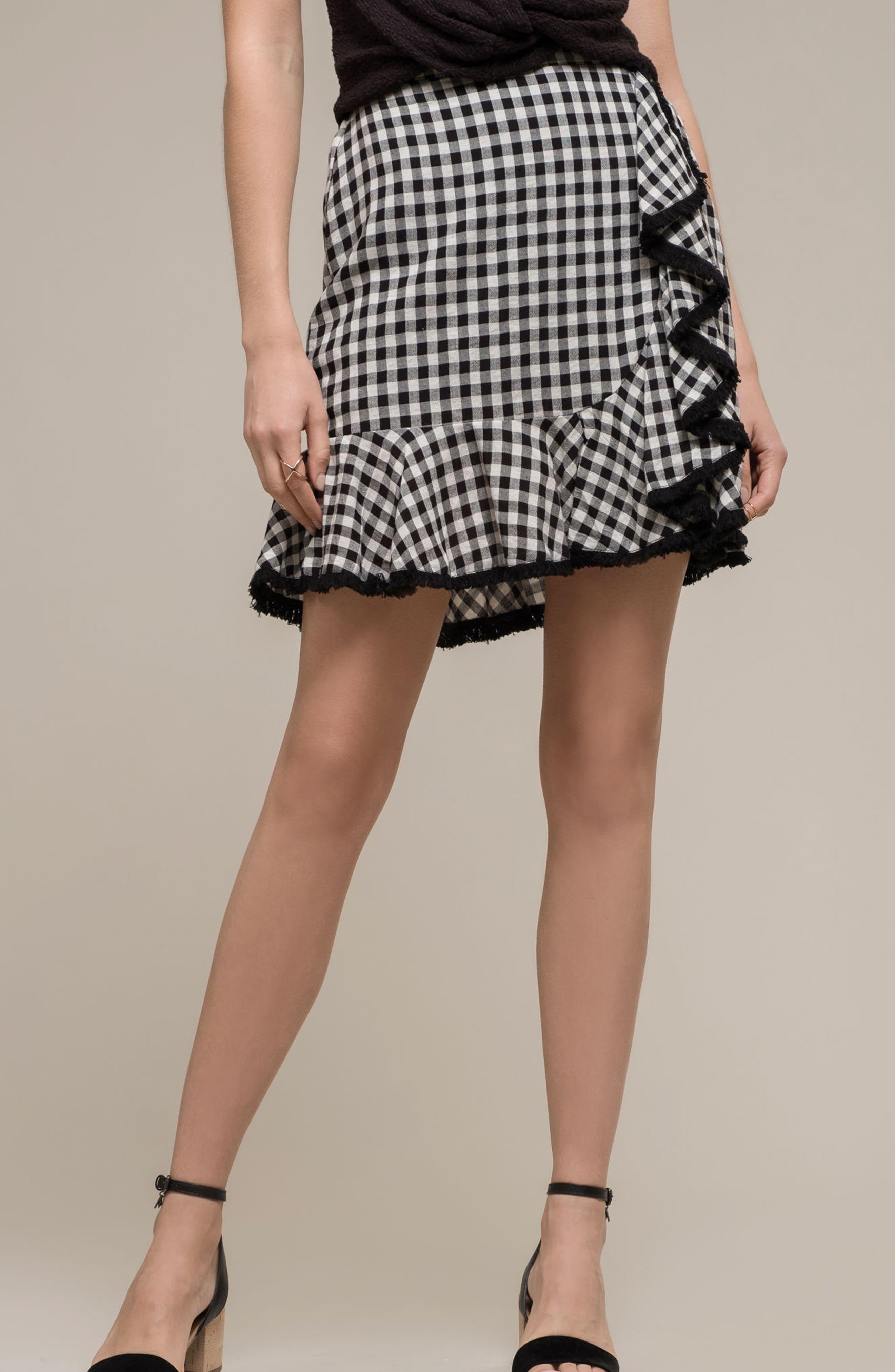 Ruffle Trim Gingham Skirt,                             Alternate thumbnail 7, color,                             001