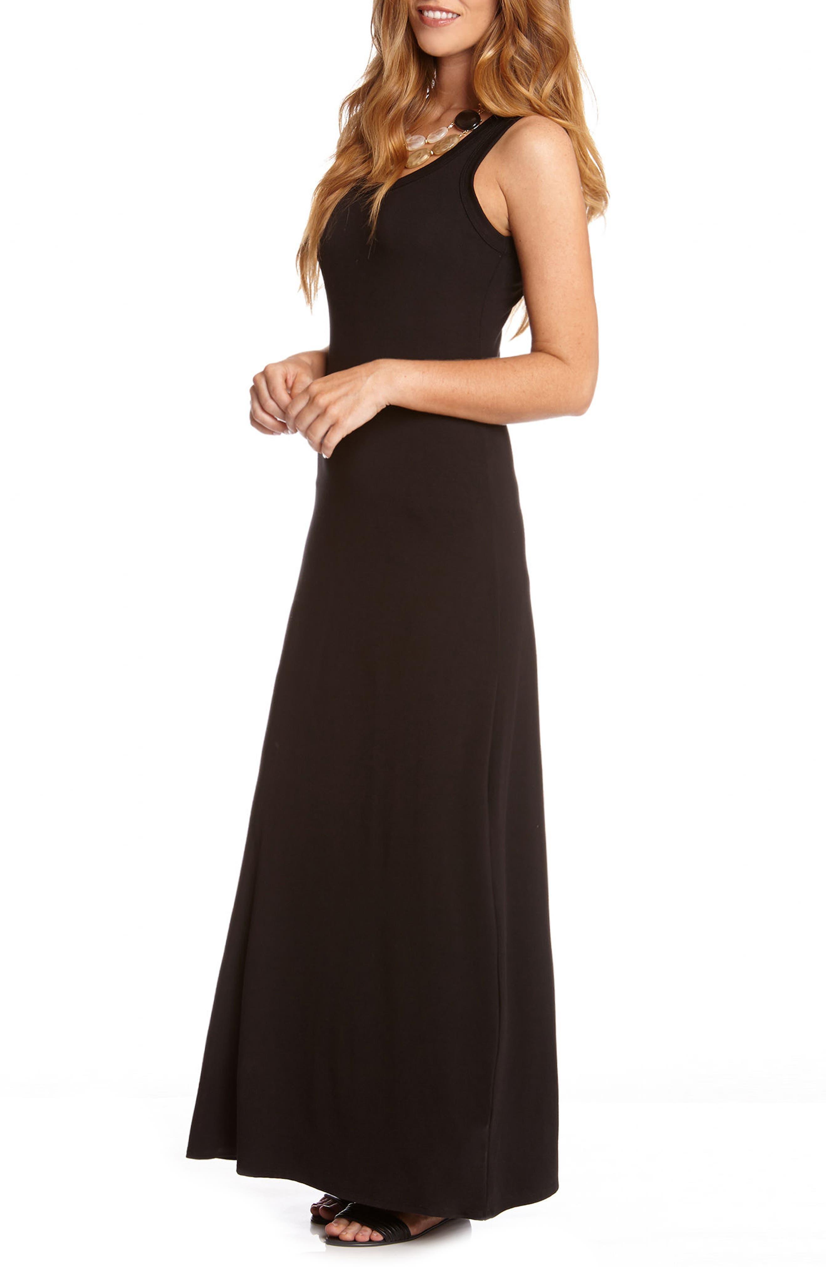 Maxi Tank Dress,                             Alternate thumbnail 4, color,                             BLACK