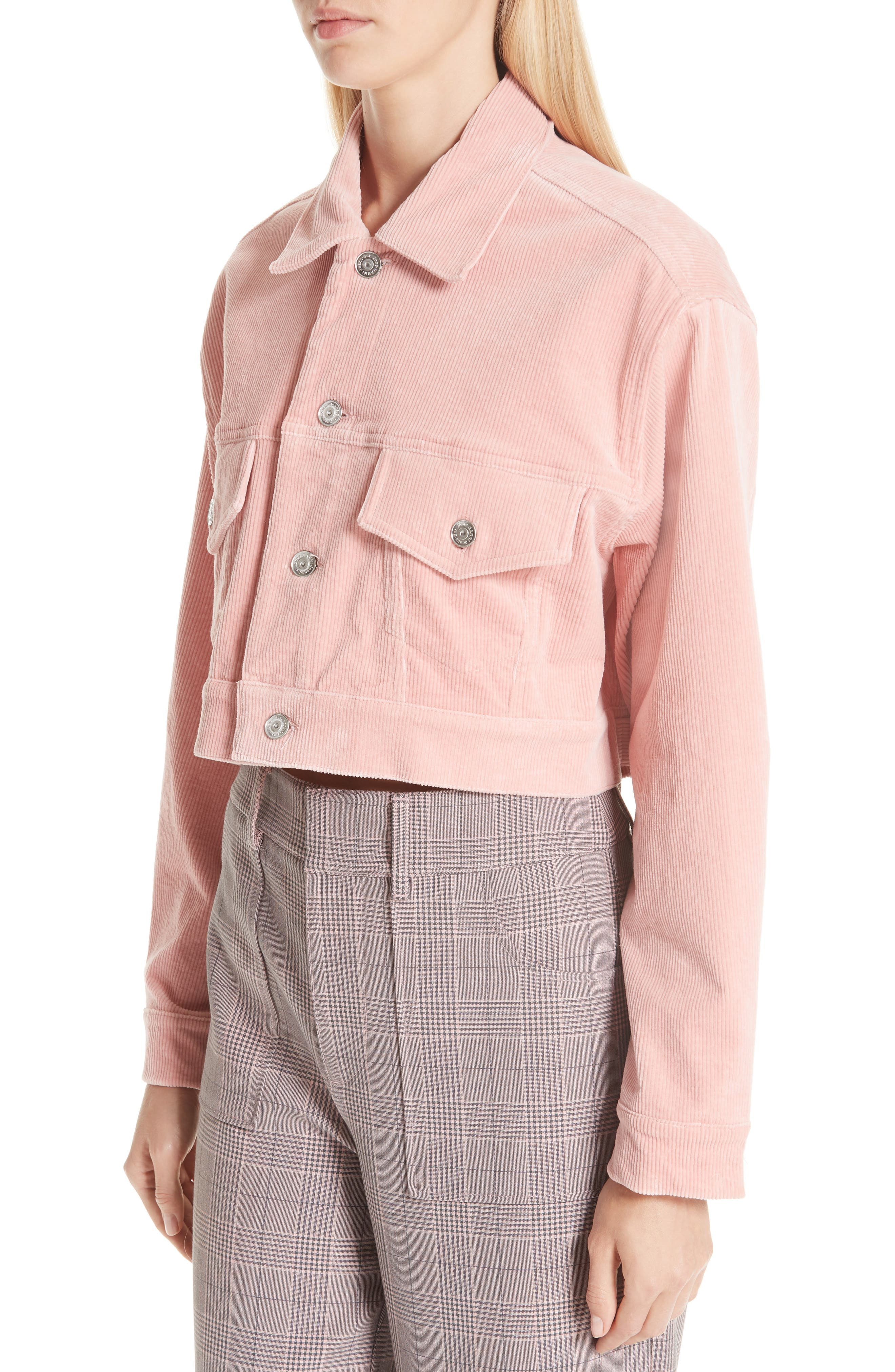Stretch Corduroy Jacket,                             Alternate thumbnail 4, color,                             SILVER PINK 499