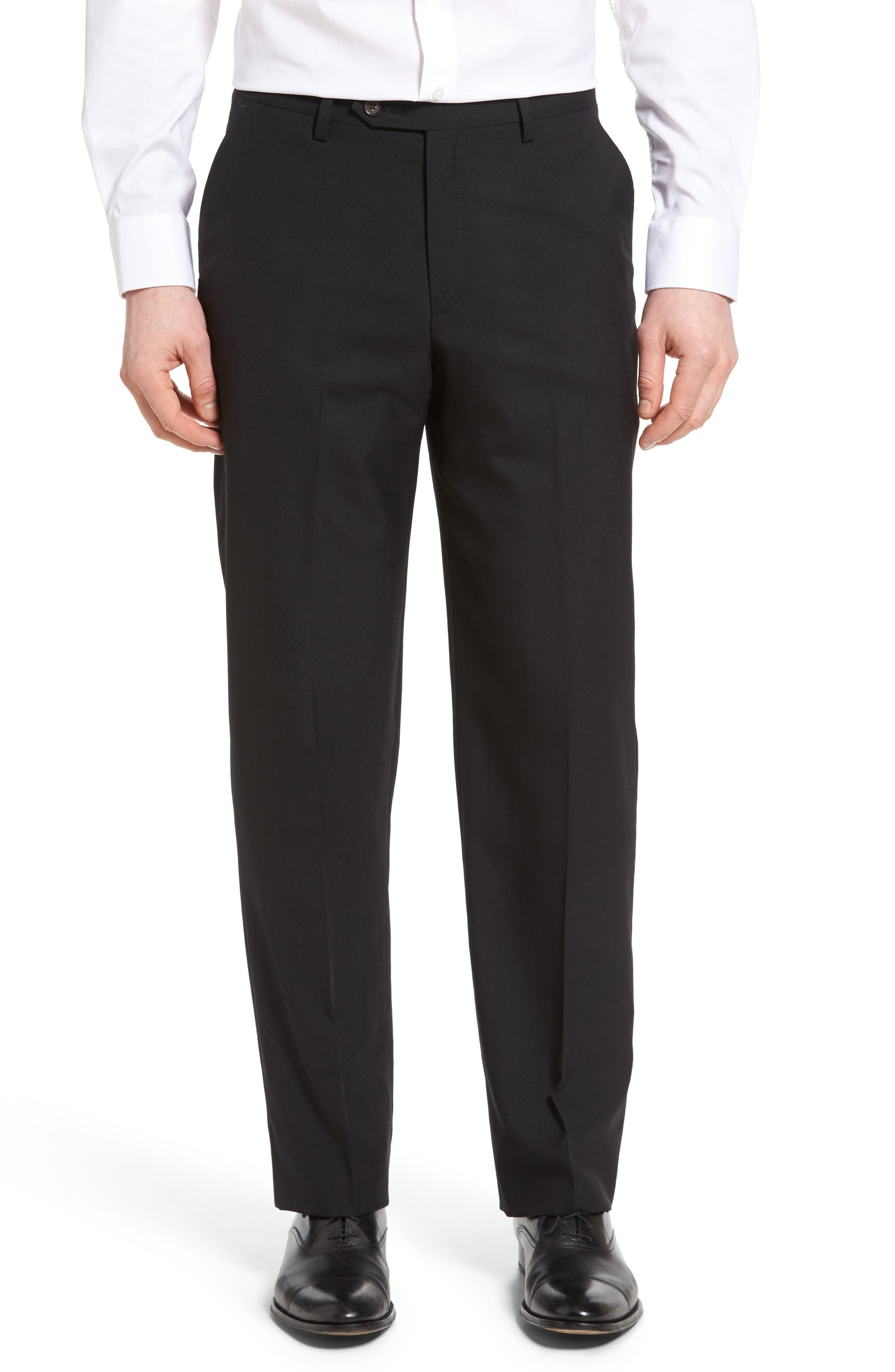 Flat Front Solid Wool Trousers,                         Main,                         color, 001