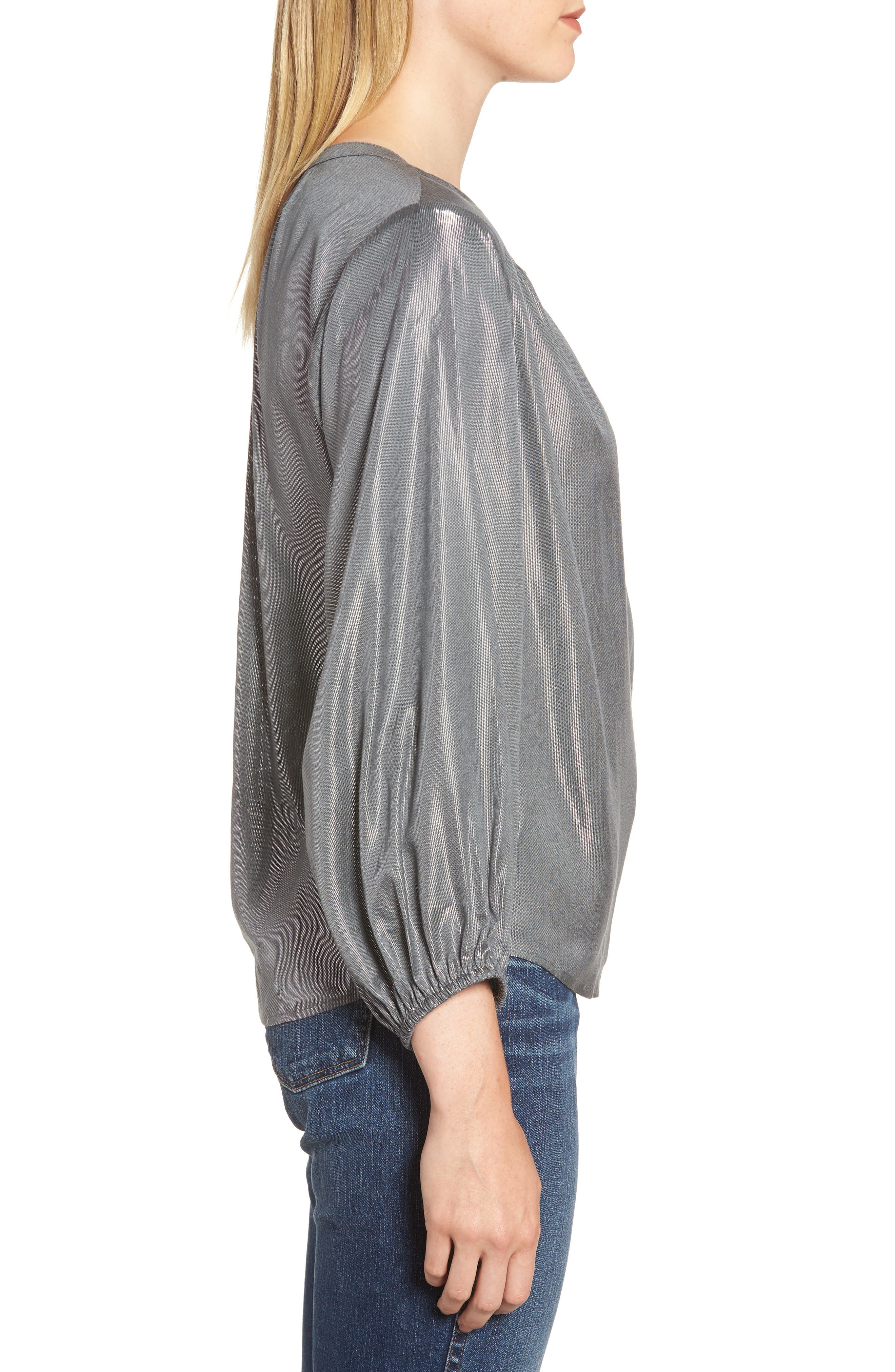 Lamé Henley Blouse,                             Alternate thumbnail 3, color,                             GUNMETAL