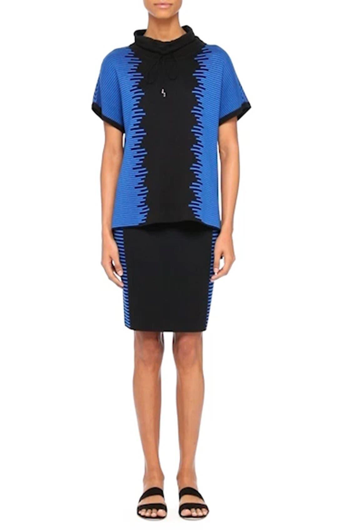Stripe Knit Jacquard Pencil Skirt,                             Alternate thumbnail 7, color,                             001