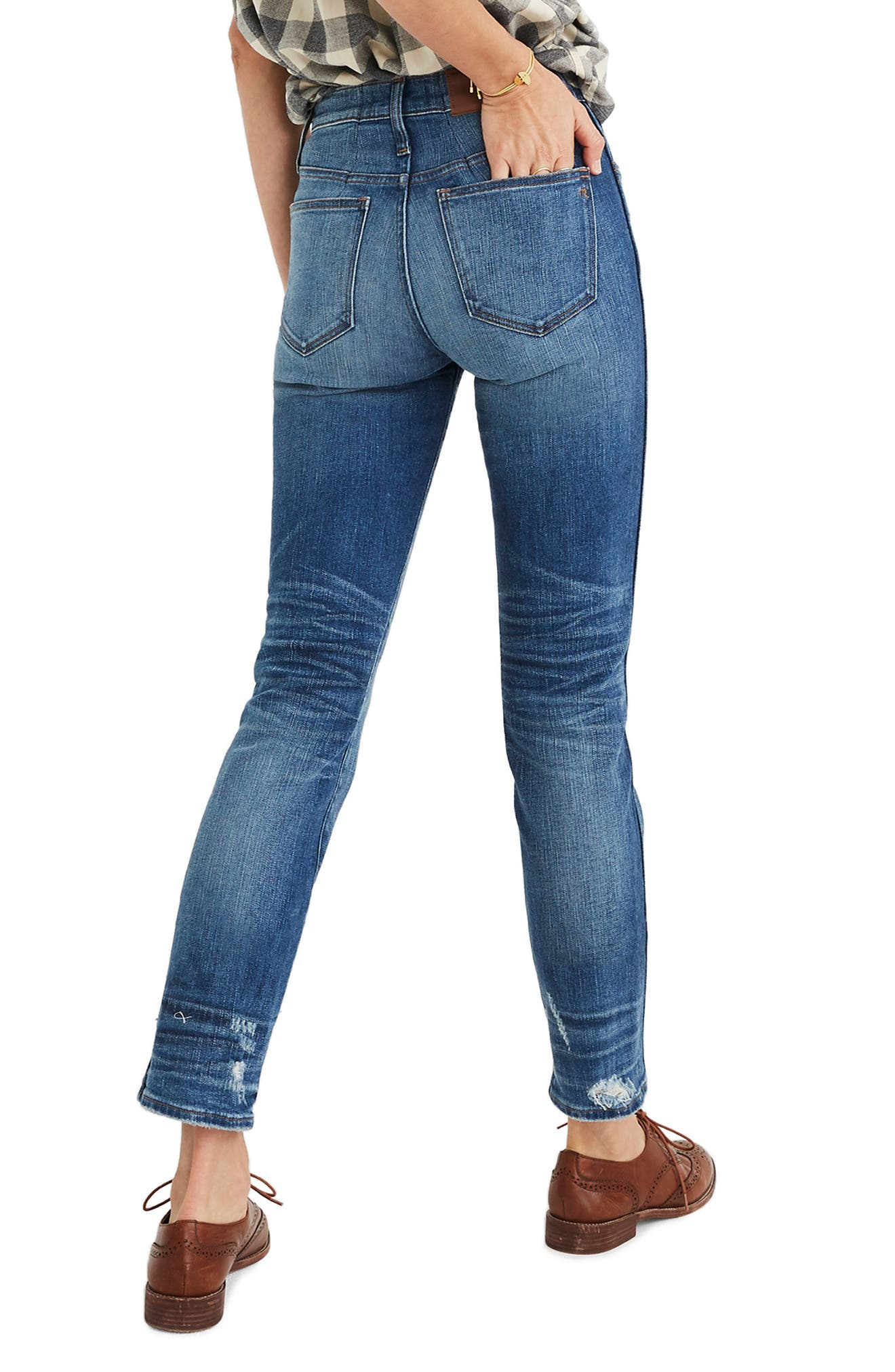 Distressed Button Front High Waist Slim Straight Jeans,                             Alternate thumbnail 2, color,                             CAROLINE