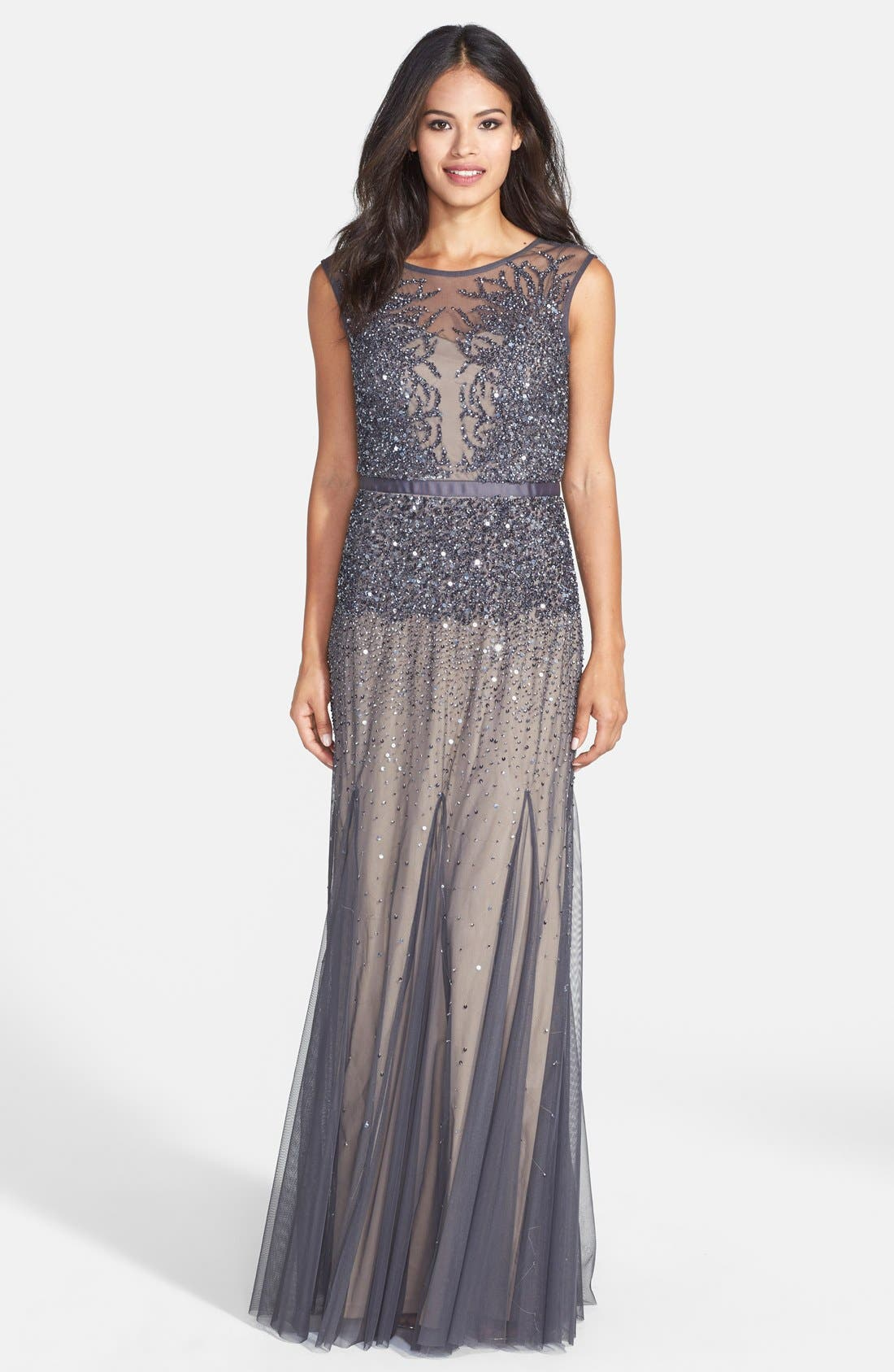 Beaded Chiffon Gown,                         Main,                         color, 020