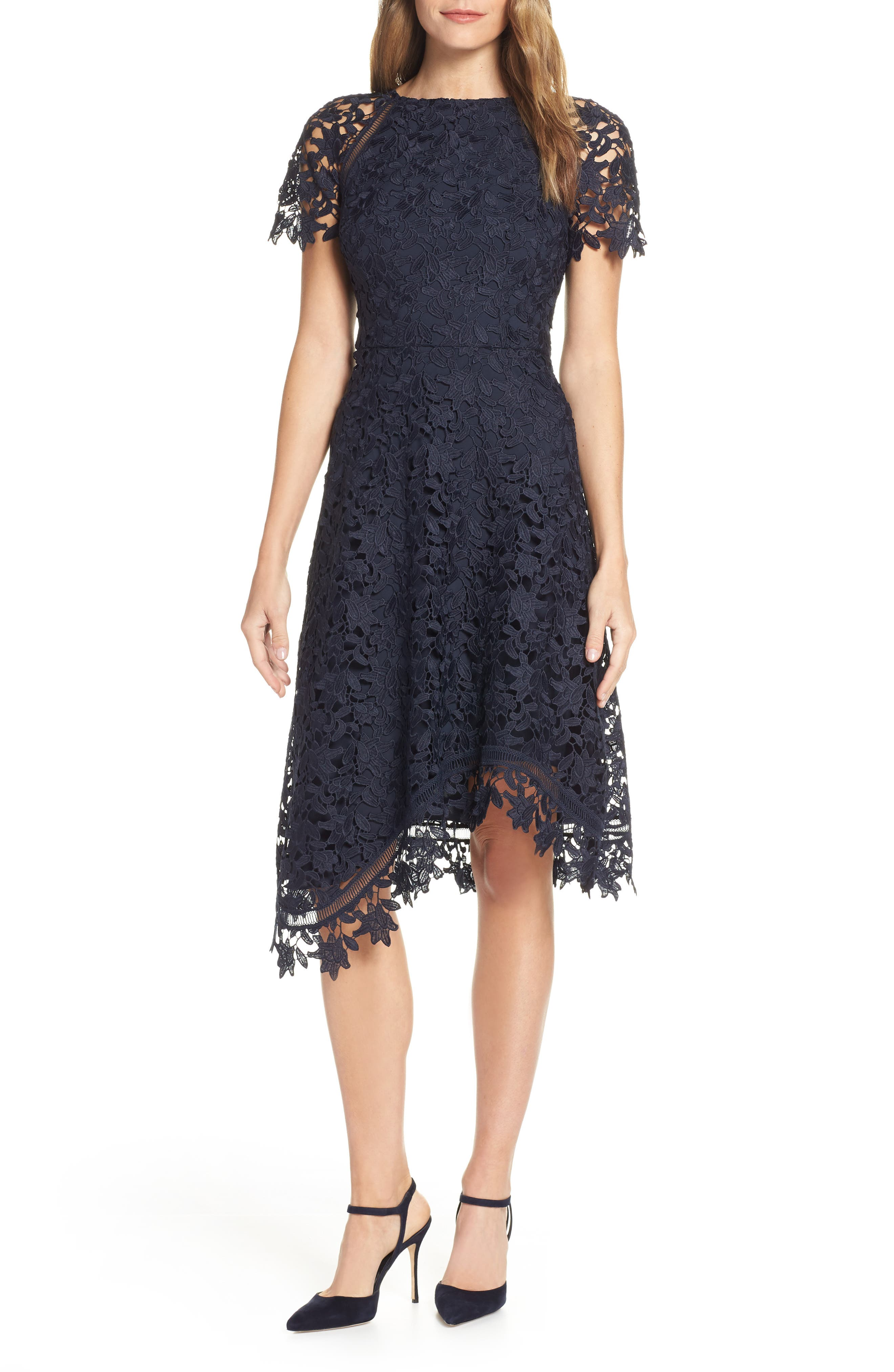 ELIZA J,                             Asymmetrical Lace Dress,                             Main thumbnail 1, color,                             NAVY