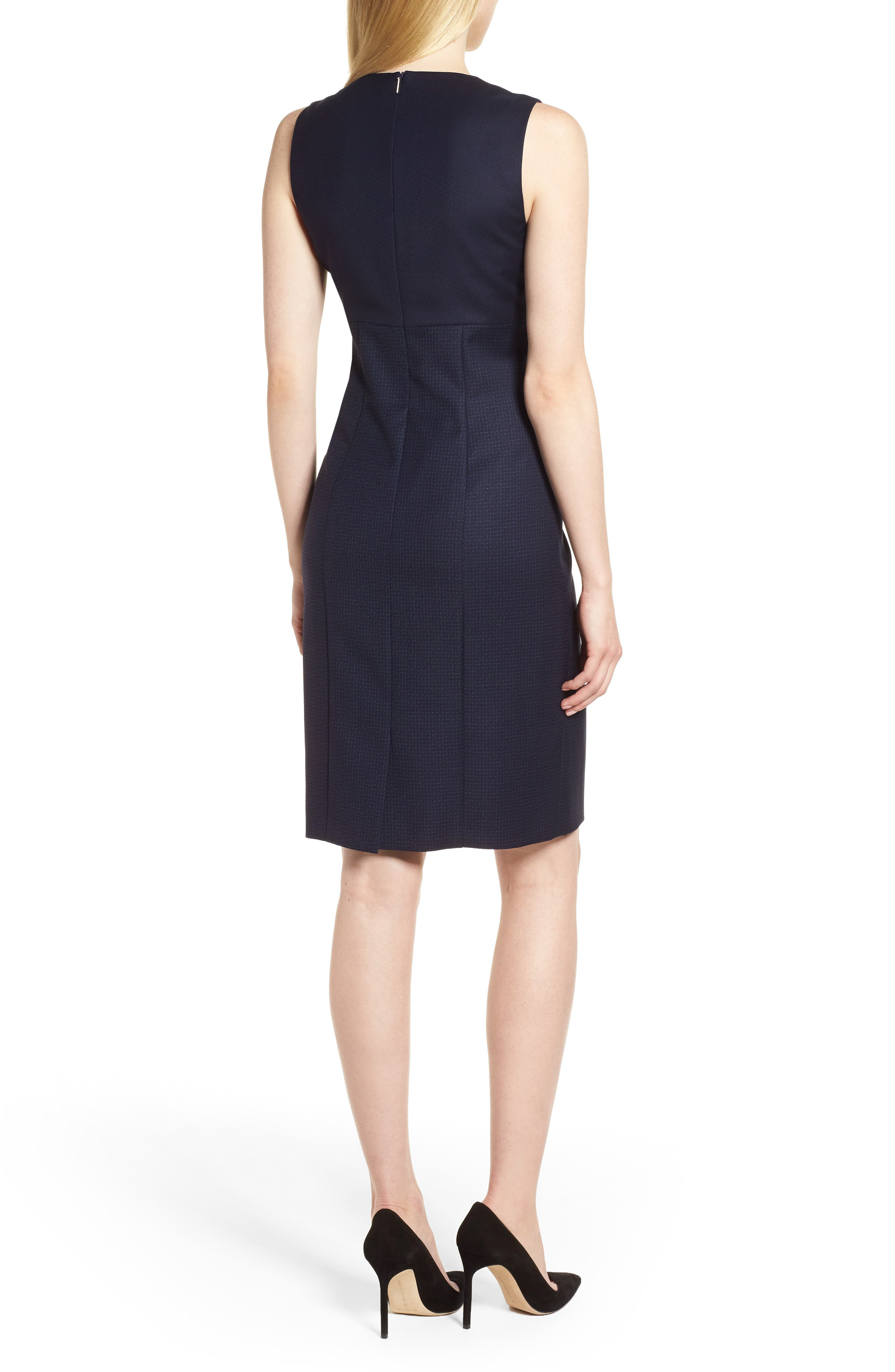 Dibena Windowpane Sheath Dress,                             Alternate thumbnail 2, color,