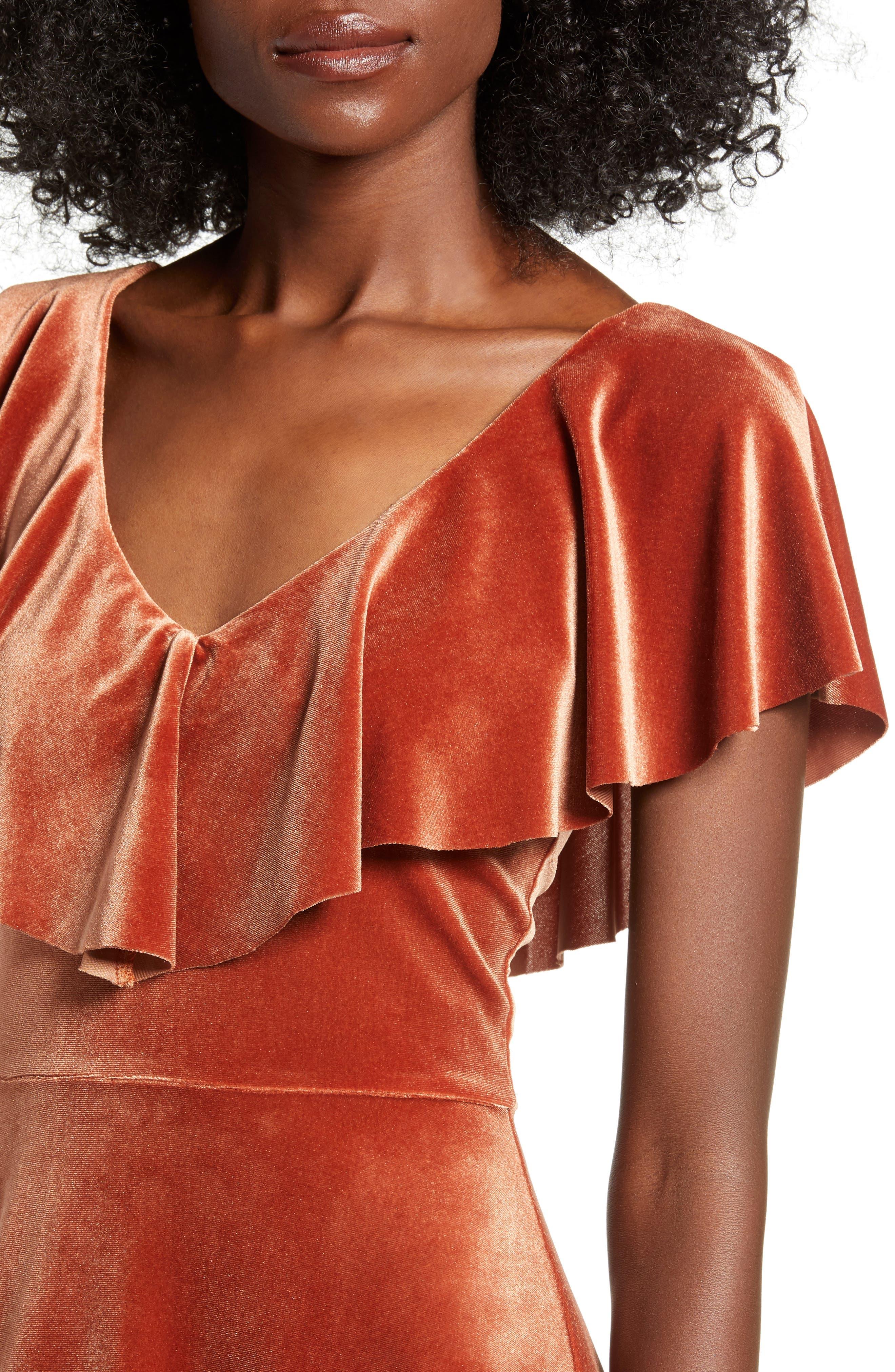Ruffle Midi Dress,                             Alternate thumbnail 4, color,                             205