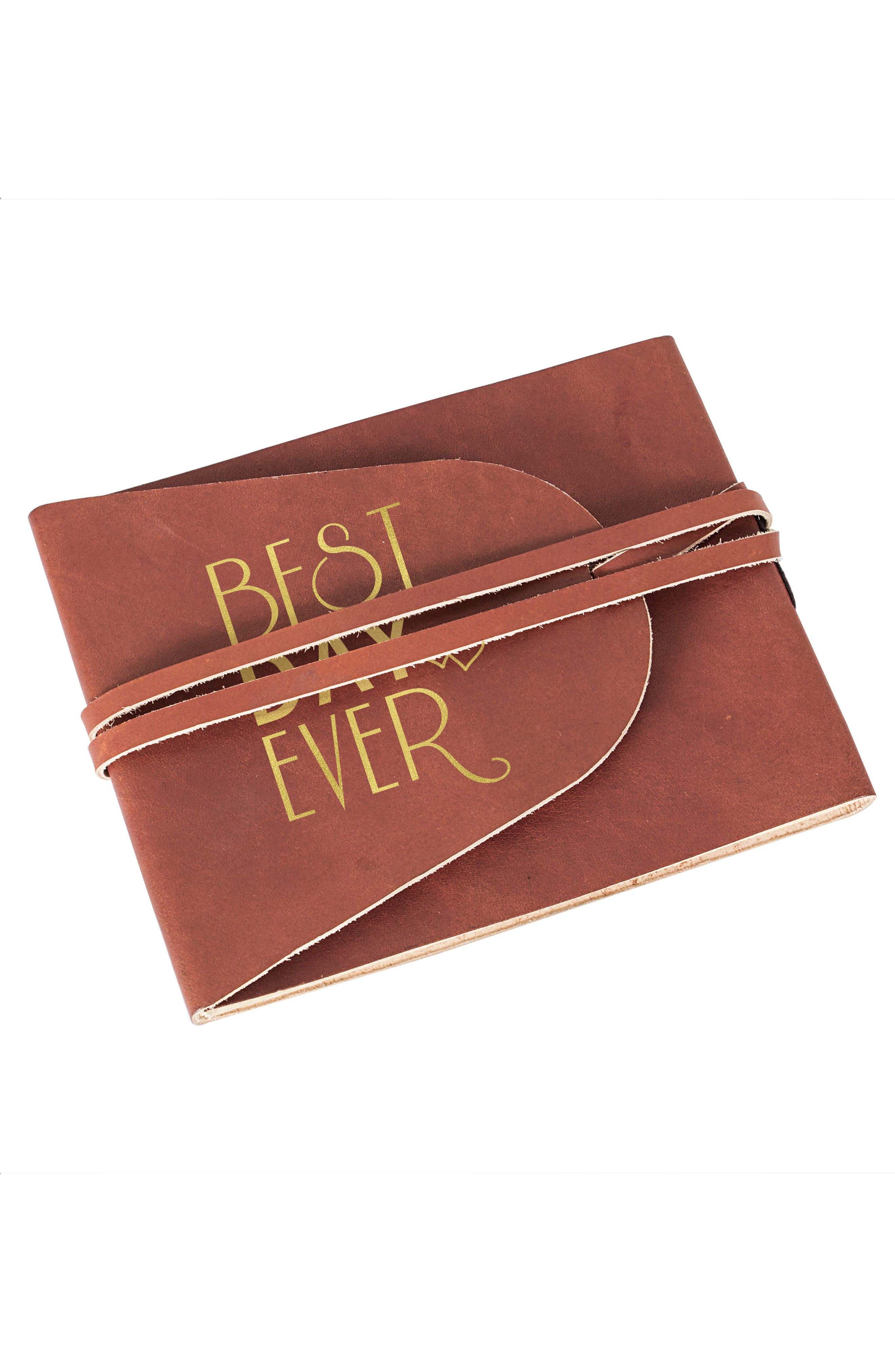 Best Day Ever Leather Guest Book,                             Alternate thumbnail 3, color,                             710