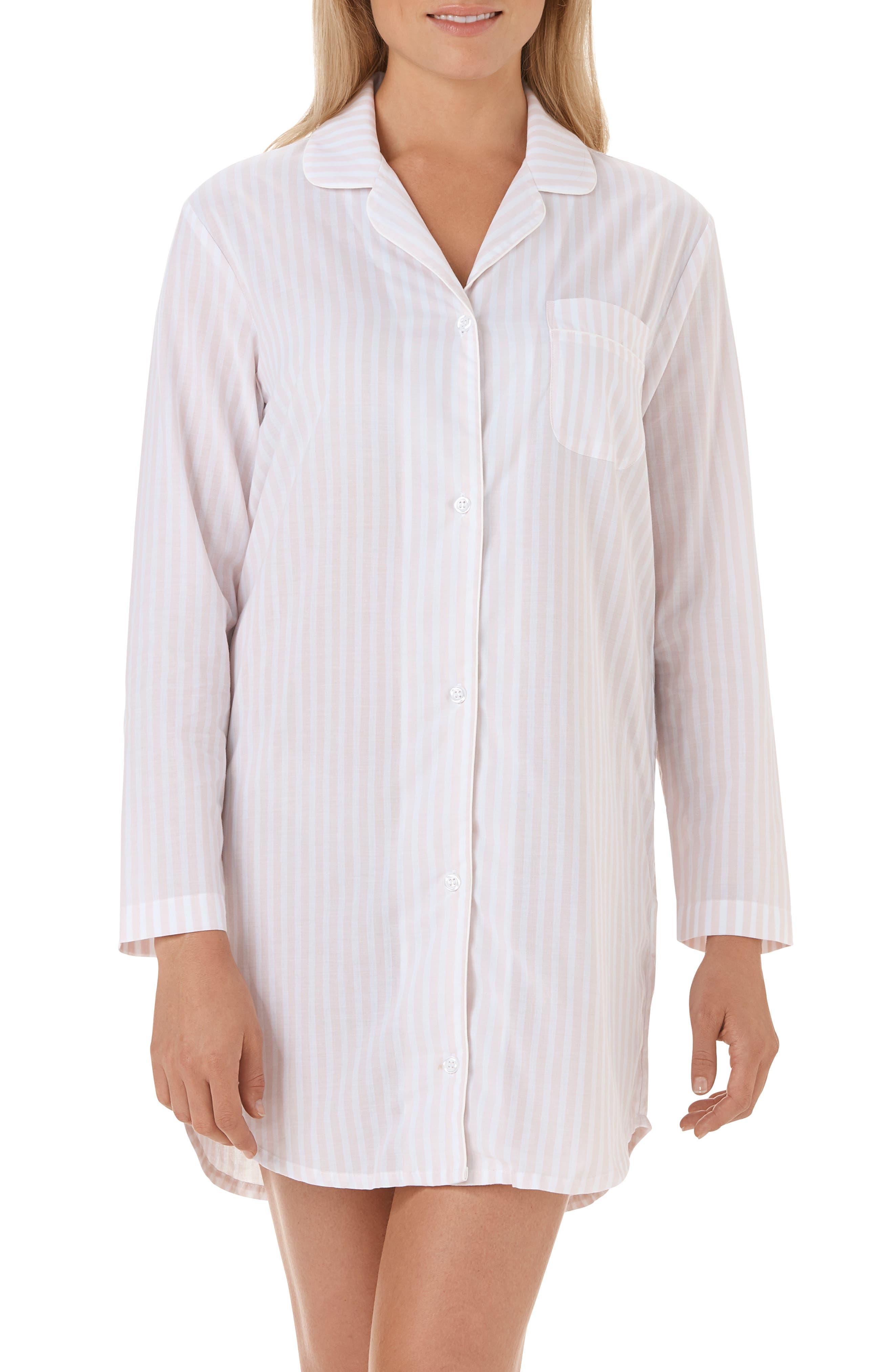 Stripe Cotton Sleep Shirt,                             Main thumbnail 1, color,                             PINK / WHITE STRIPE