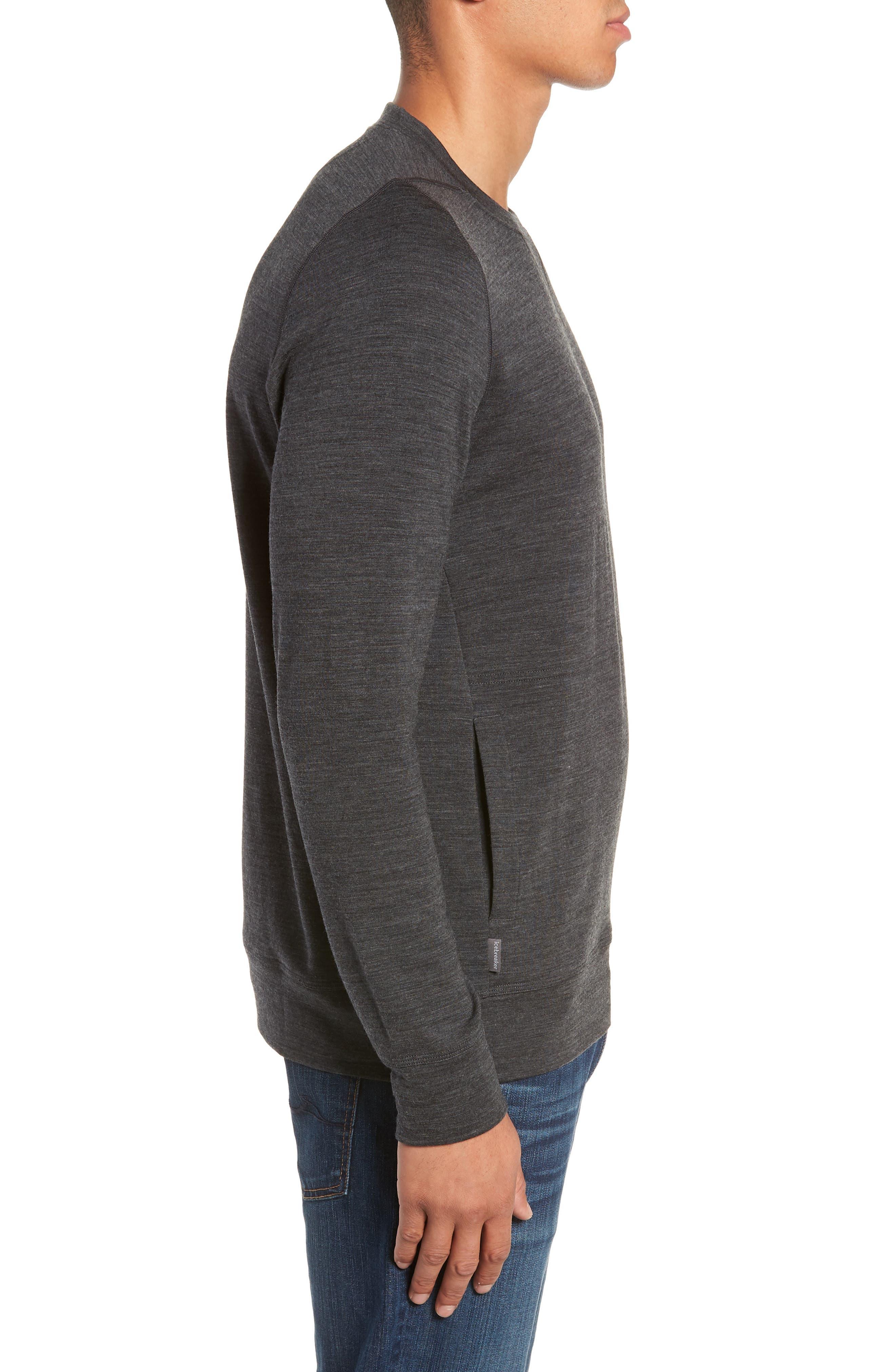 Shifter Merino Wool Blend Crewneck Sweater,                             Alternate thumbnail 3, color,                             JET HEATHER