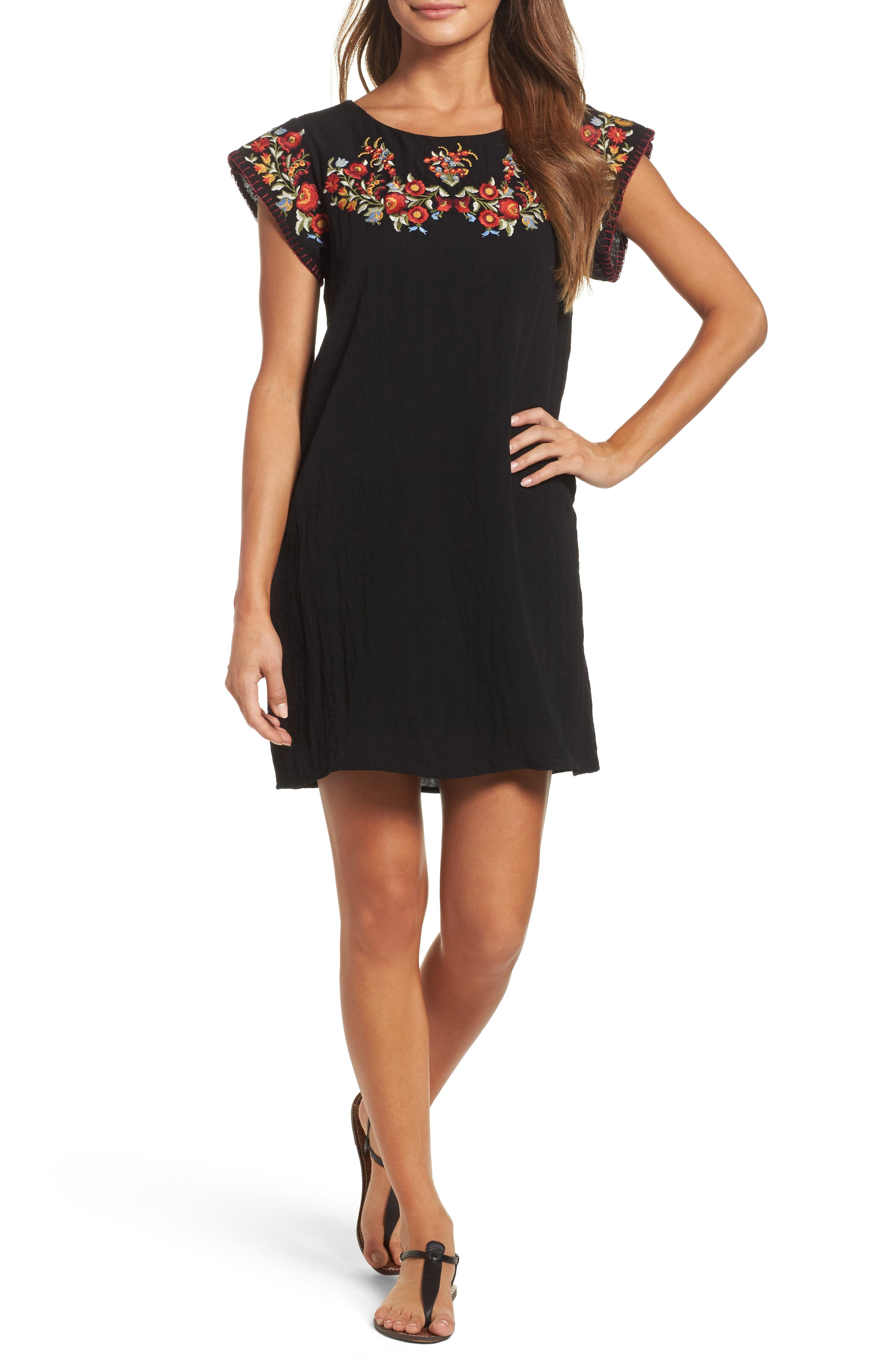 THML Embroidered Shift Dress, Main, color, 001