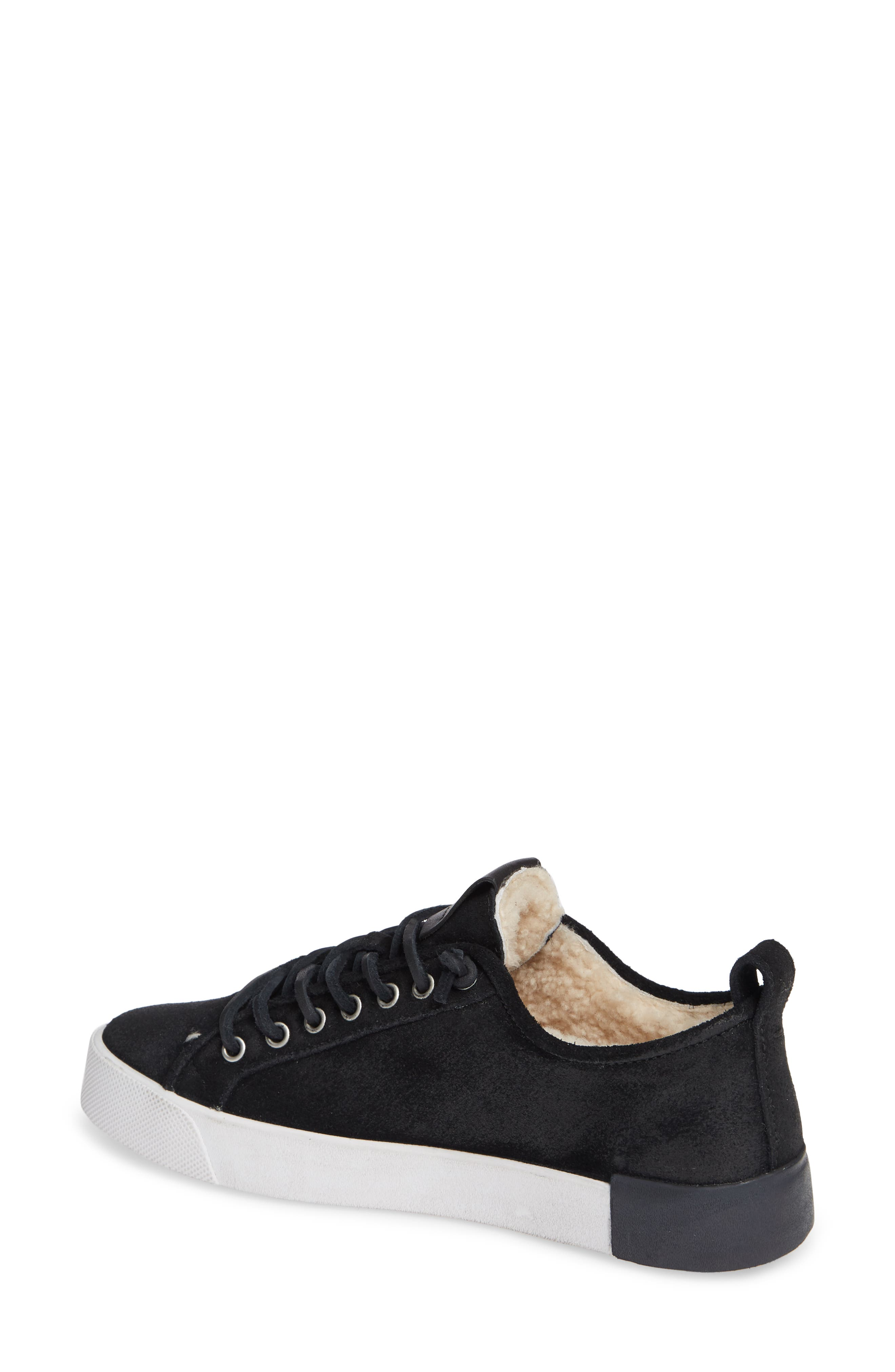 QL60 Genuine Shearling Lined Sneaker,                             Alternate thumbnail 2, color,                             BLACK LEATHER