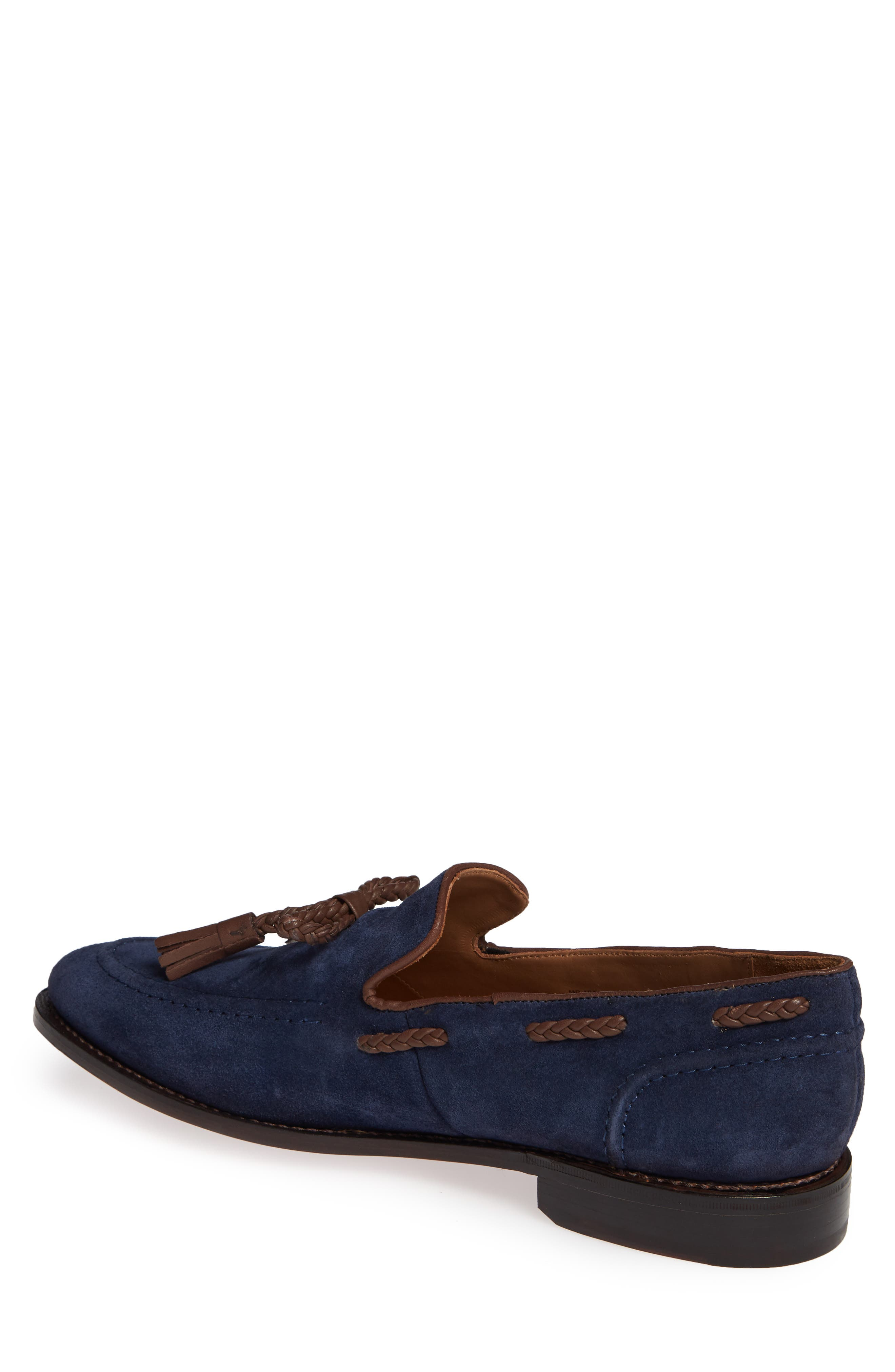 Braided Tassel Loafer,                             Alternate thumbnail 2, color,                             NAVY SUEDE
