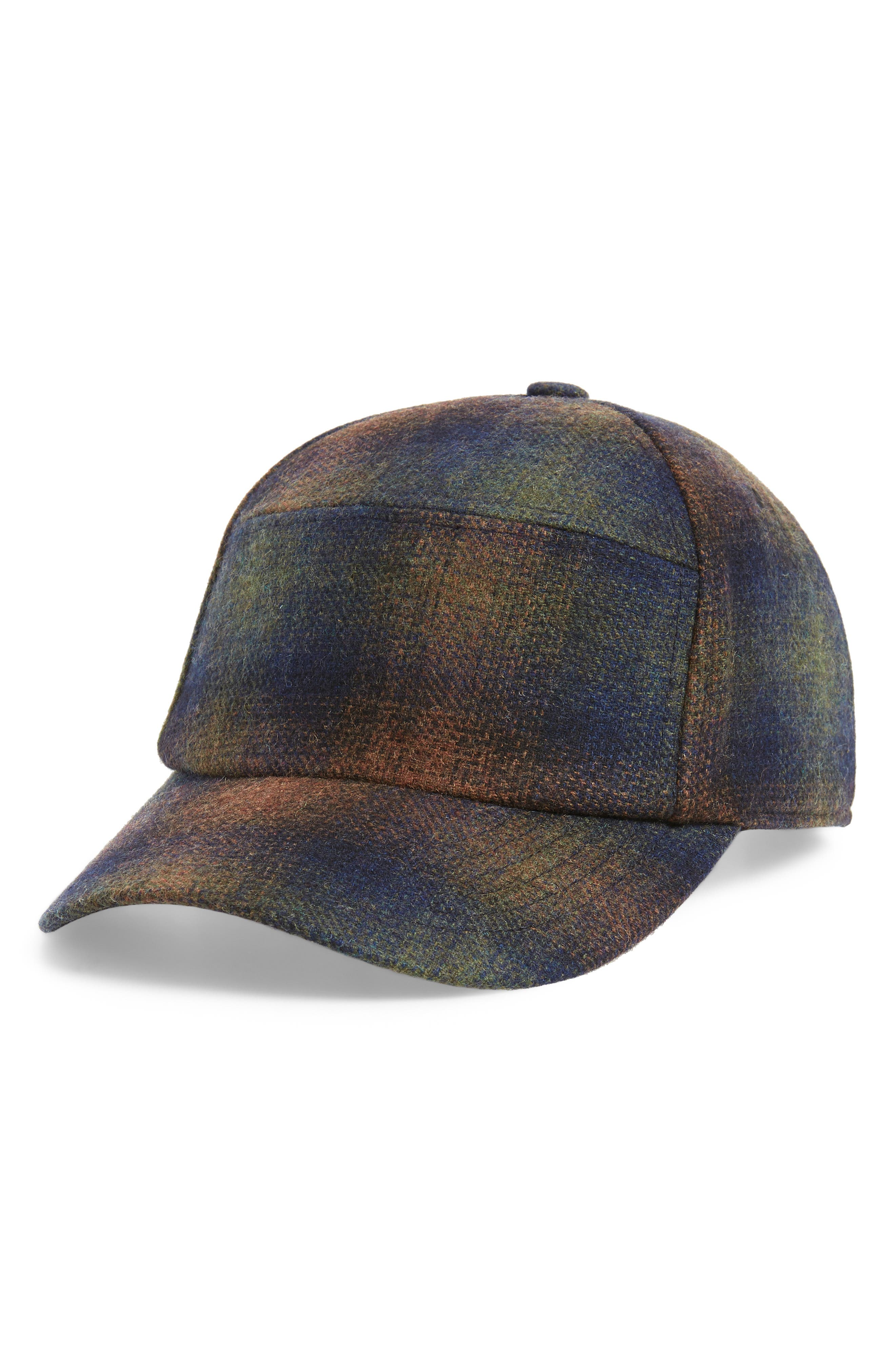 Bernick Plaid Wool Blend Baseball Cap,                             Main thumbnail 1, color,                             OLIVE PLAID