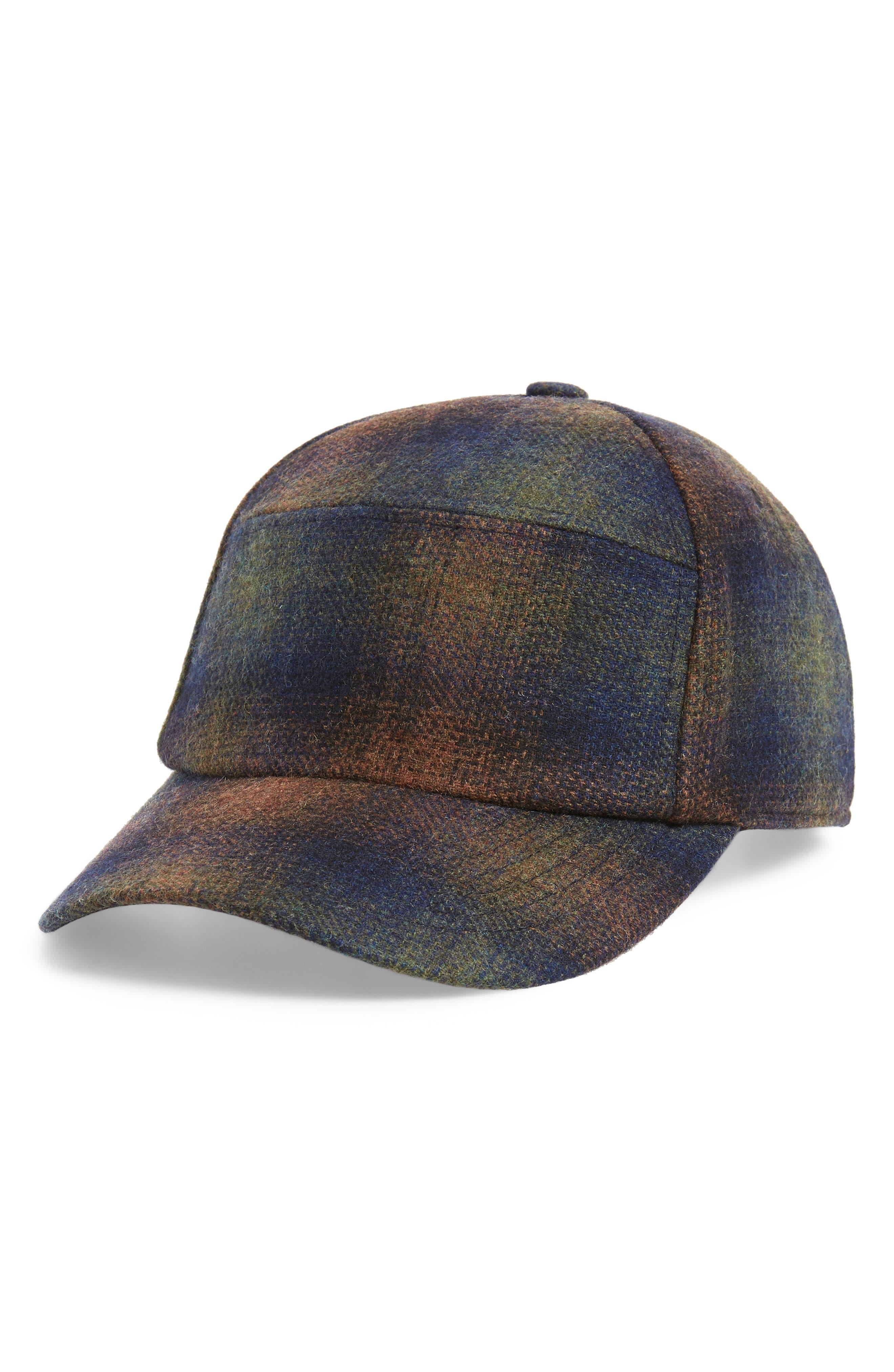 Bernick Plaid Wool Blend Baseball Cap,                         Main,                         color, OLIVE PLAID