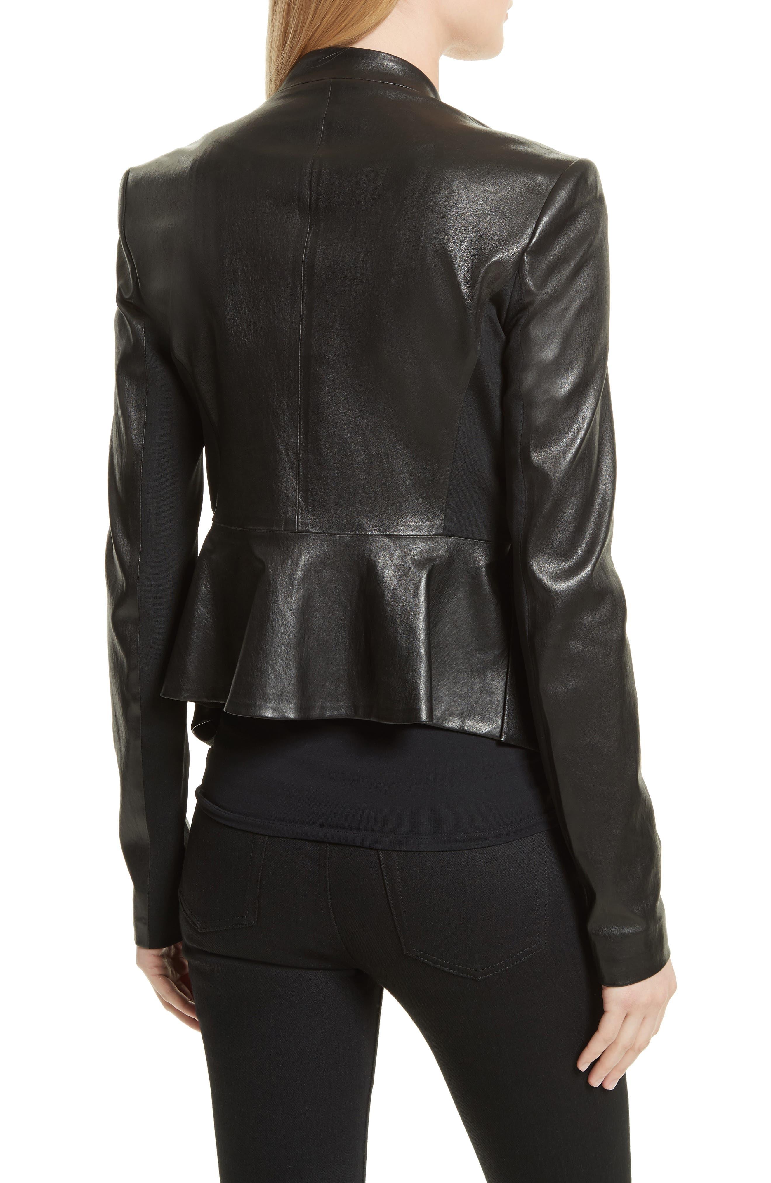 Bristol Peplum Leather Jacket,                             Alternate thumbnail 2, color,                             001