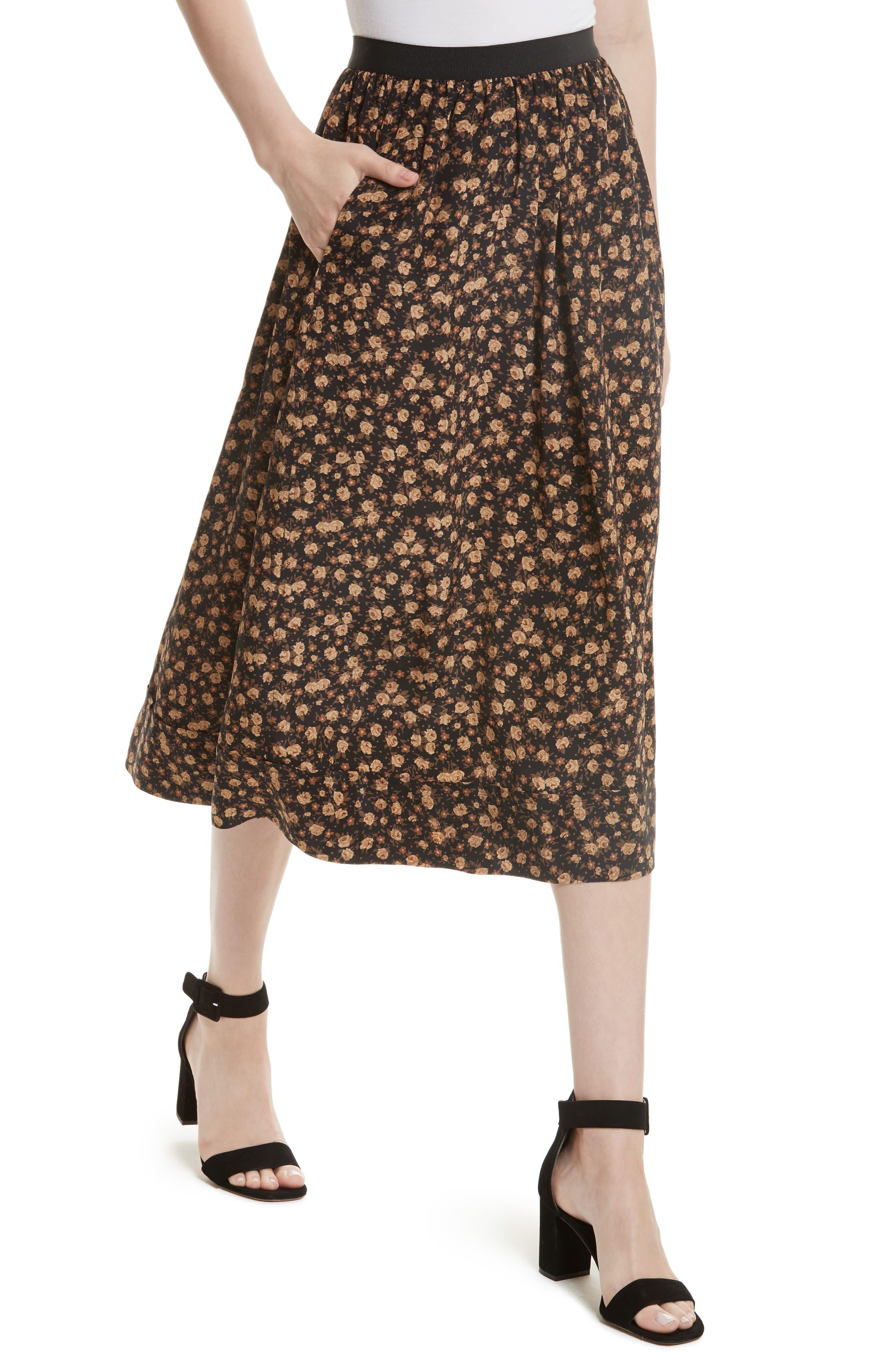 Dirndl Silk Floral Midi Skirt,                             Alternate thumbnail 4, color,                             007
