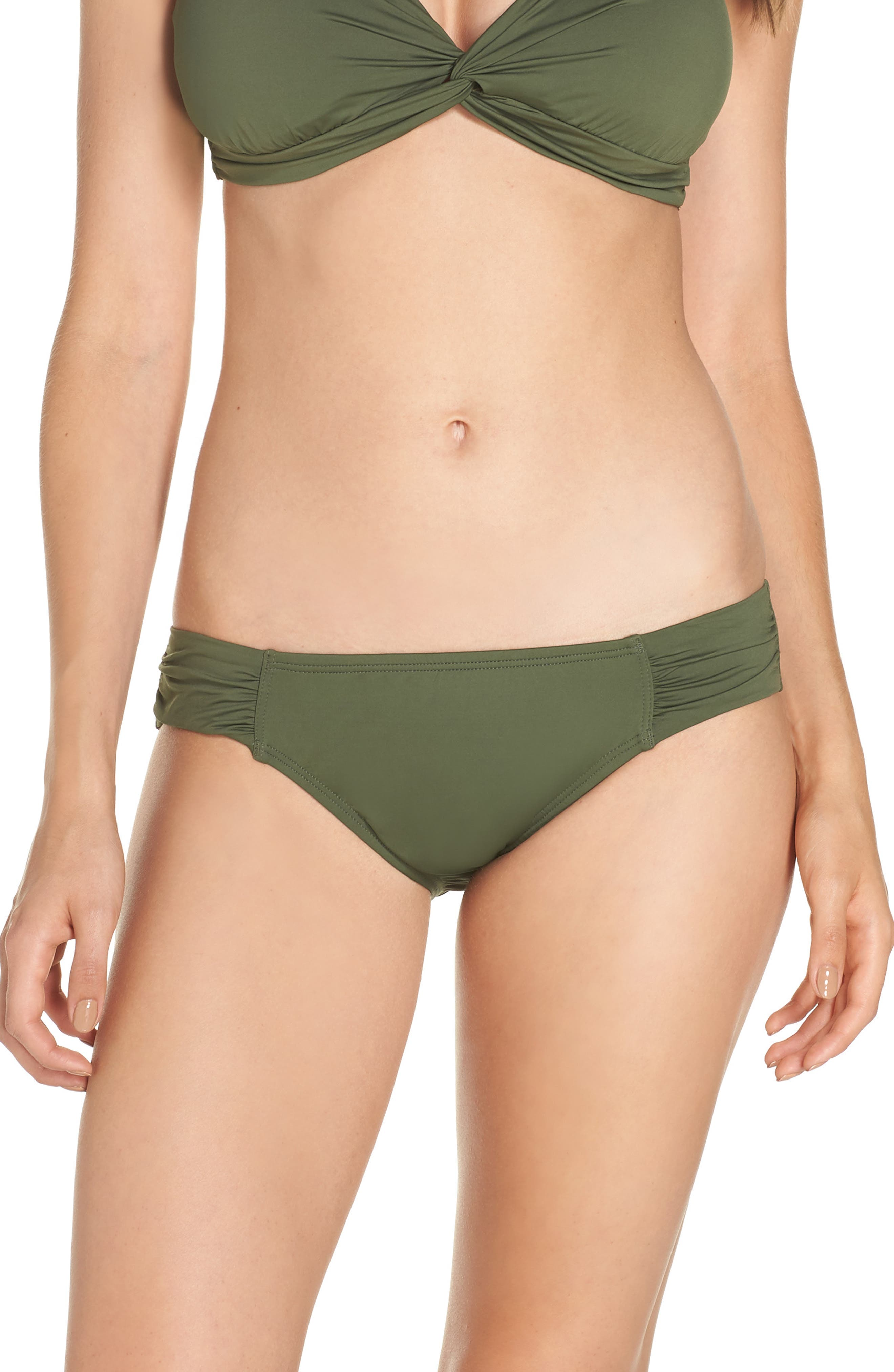 Side Shirred Hipster Bikini Bottoms,                             Main thumbnail 1, color,                             DARK TEA LEAF
