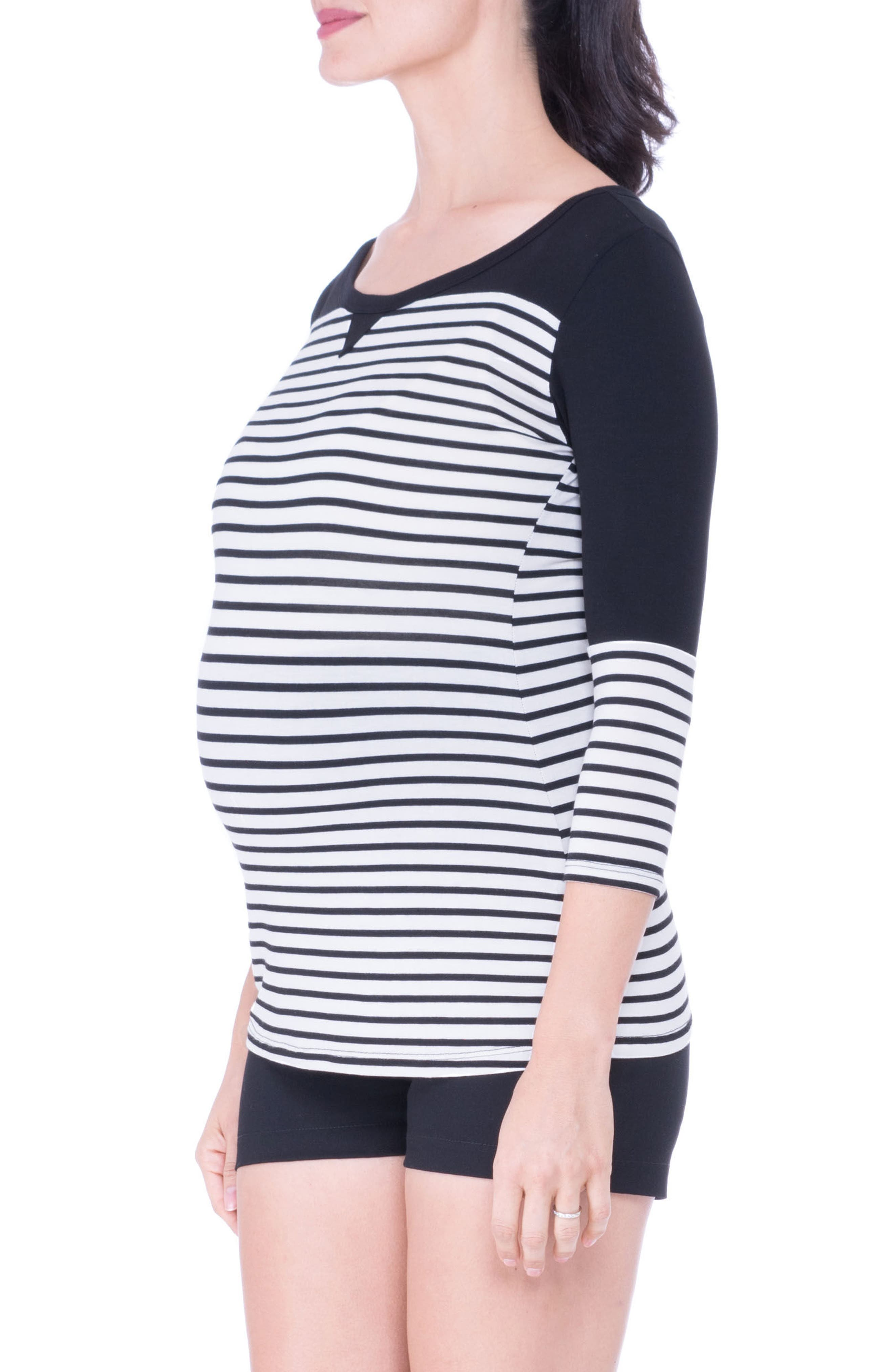 Stripe Maternity Tee,                         Main,                         color, BLACK/ WHITE