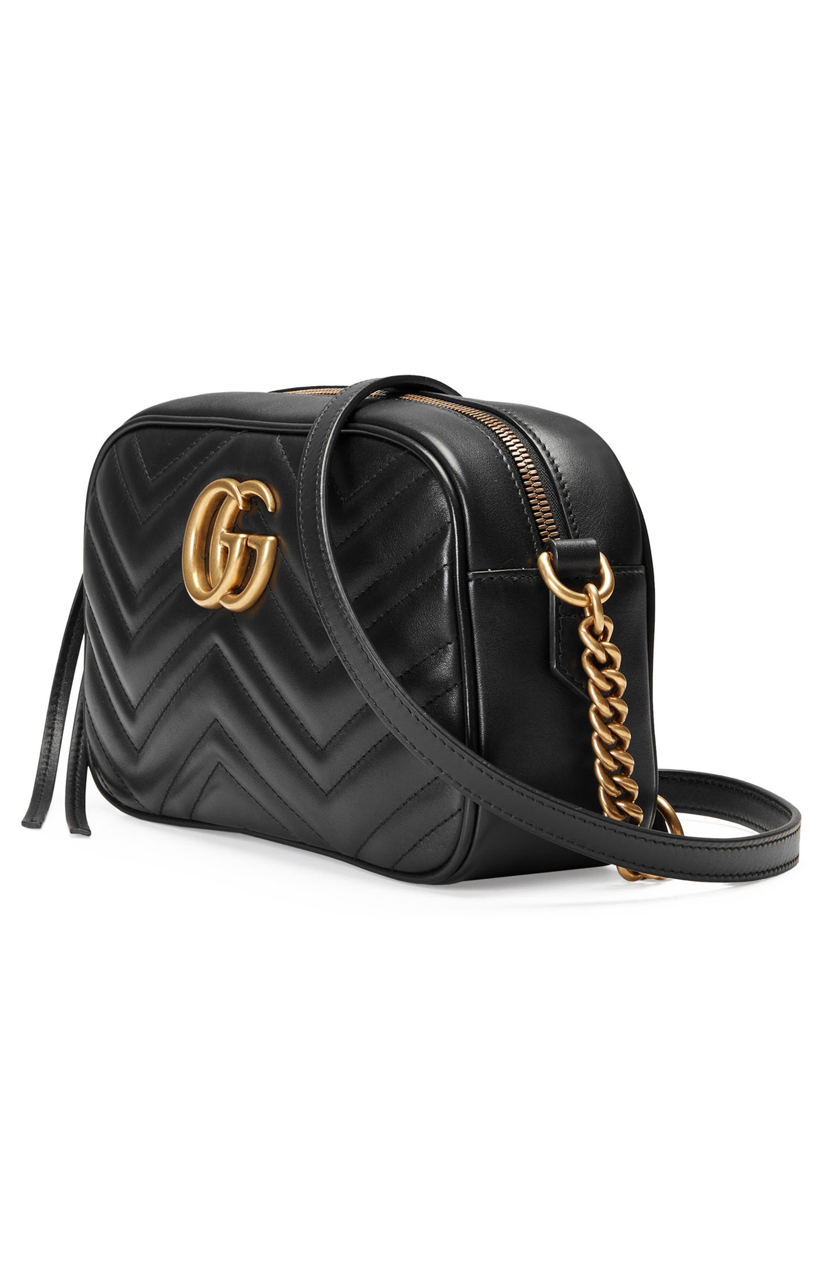 GUCCI,                             GG Marmont 2.0 Matelassé Leather Camera Bag,                             Alternate thumbnail 4, color,                             001