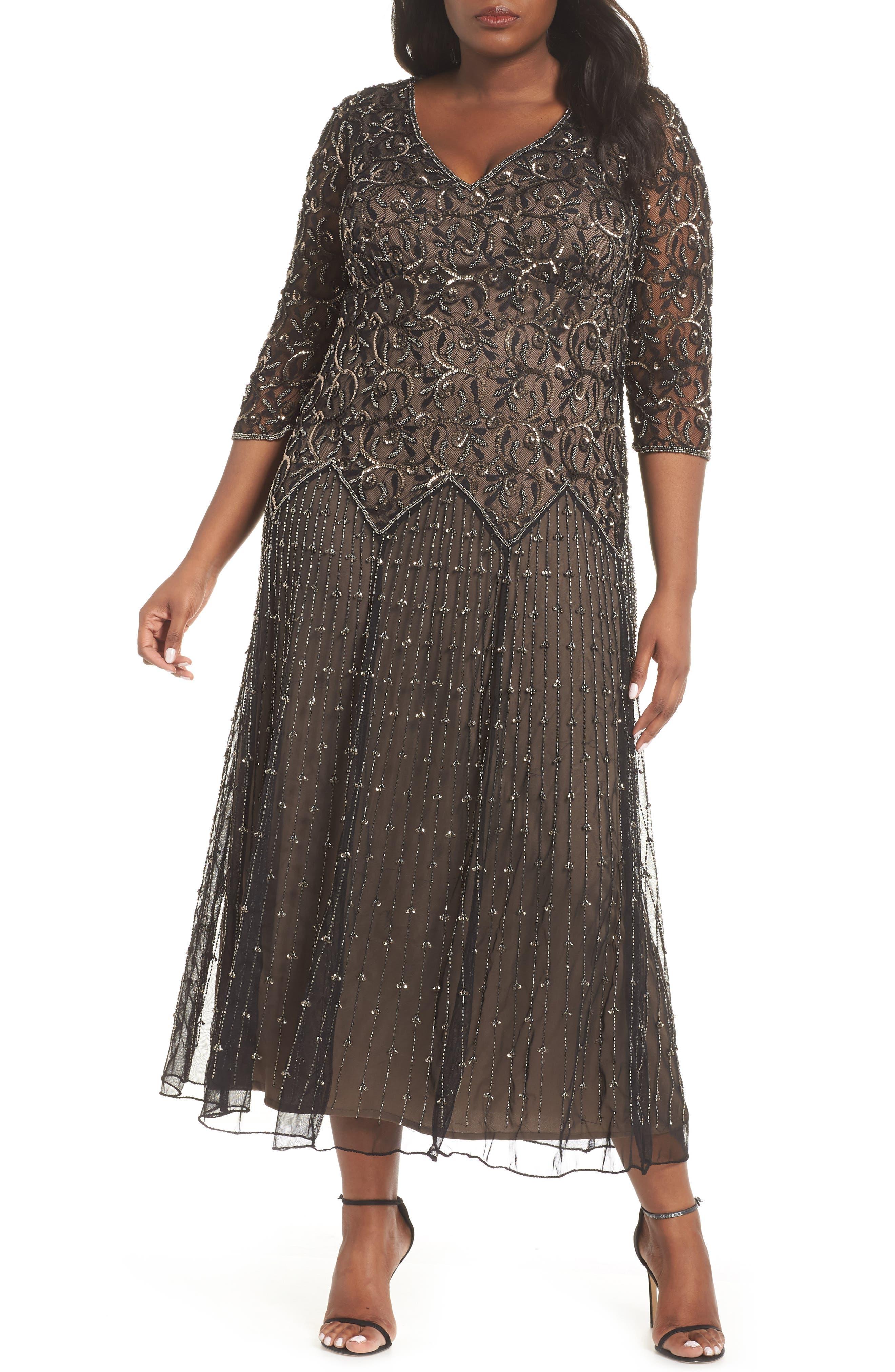 Embellished Mesh Gown,                         Main,                         color, BLACK