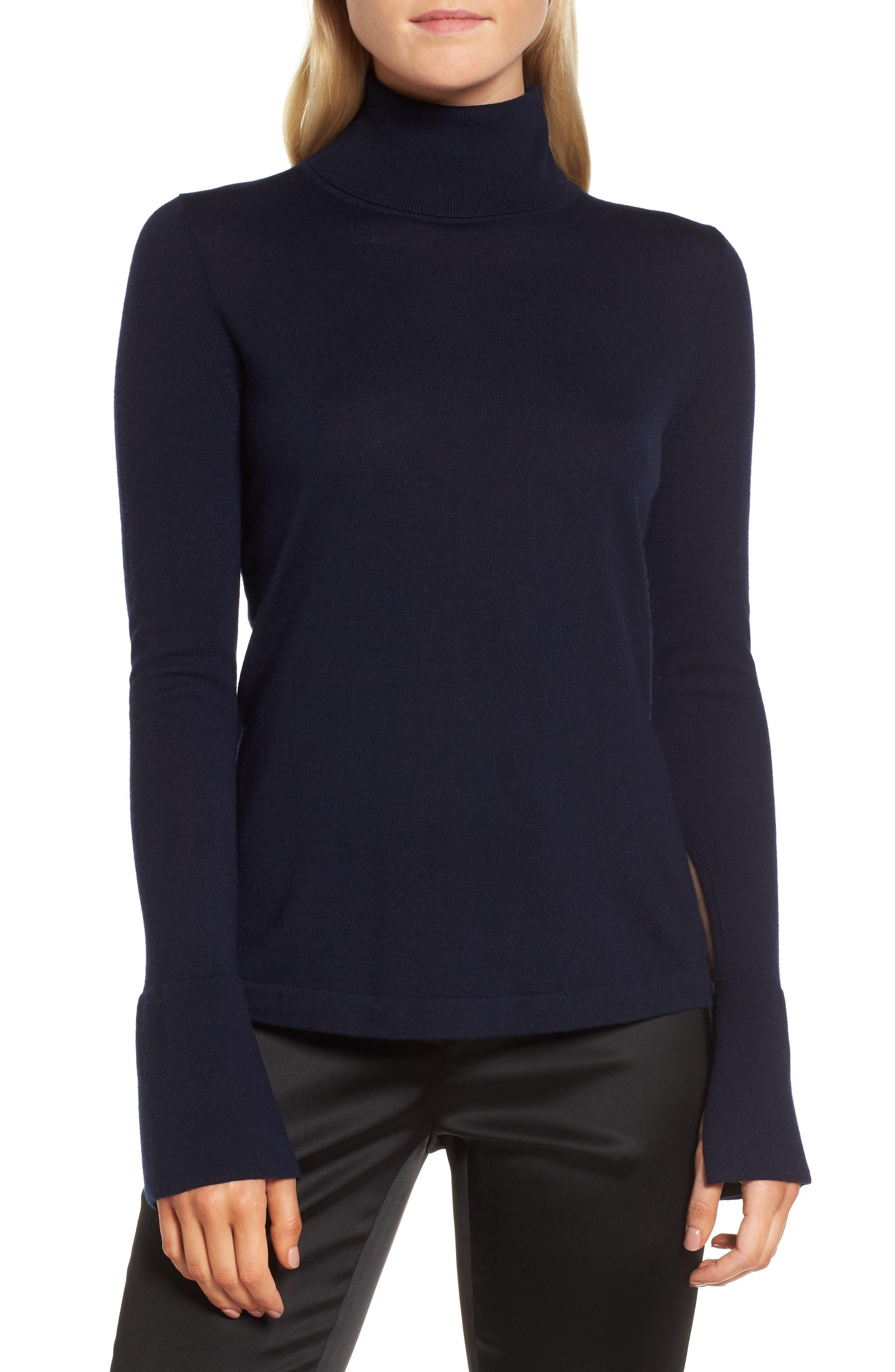 Split Cuff Merino Wool Turtleneck Sweater,                             Main thumbnail 2, color,