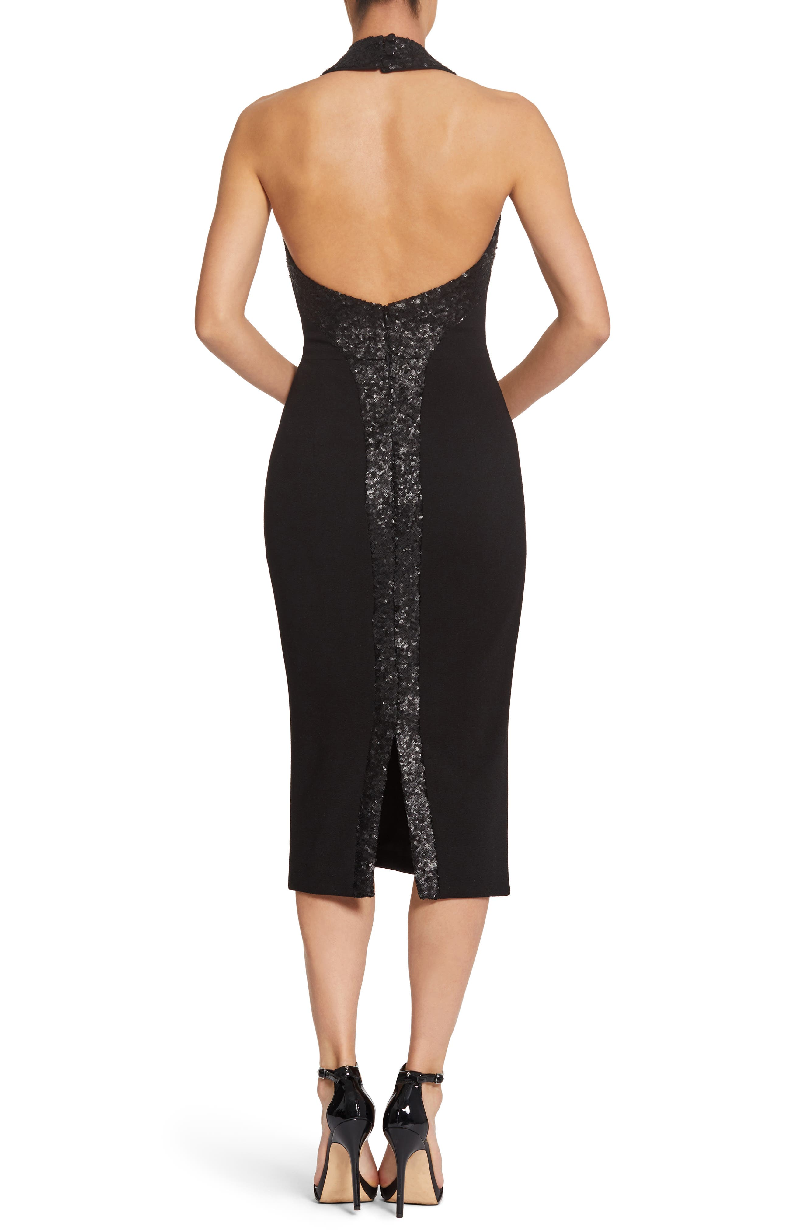 Cleo Halter Dress,                             Alternate thumbnail 3, color,                             BLACK/ BLACK
