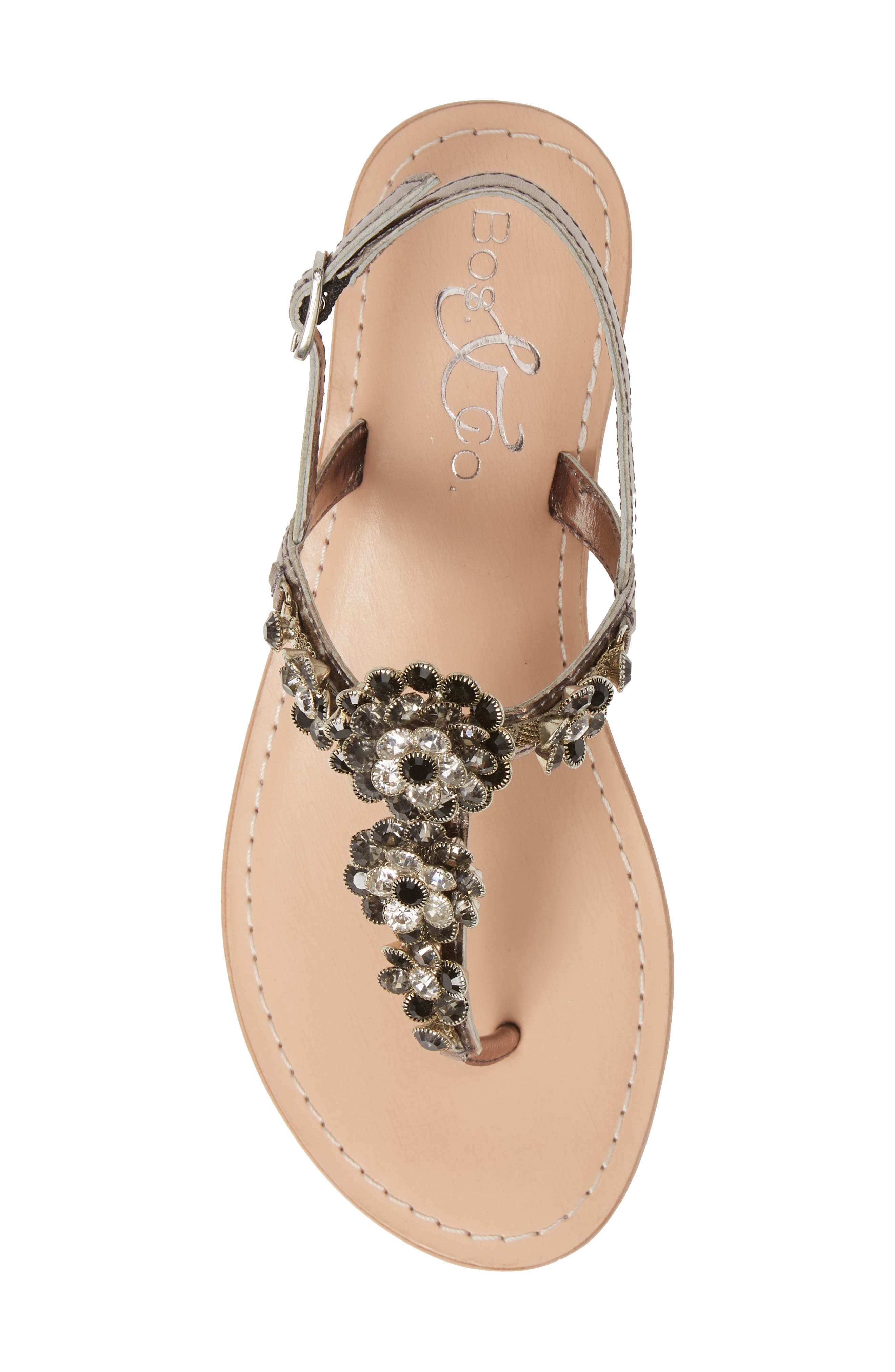 BOS. & CO.,                             Wyn Embellished Sandal,                             Alternate thumbnail 5, color,                             ANTHRACITE/ PEWTER LEATHER