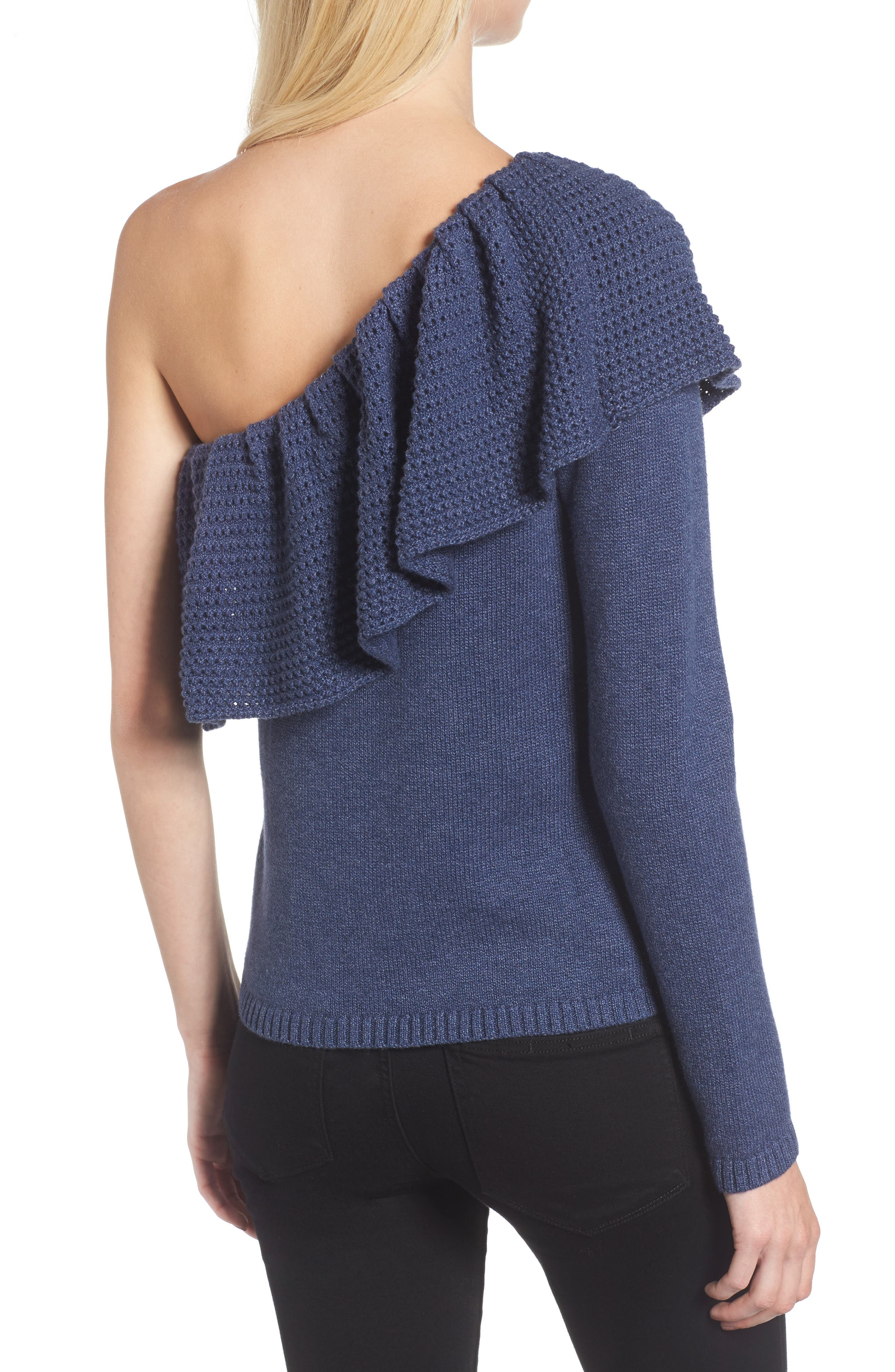 Ruffle One Shoulder Sweater,                             Alternate thumbnail 2, color,                             439