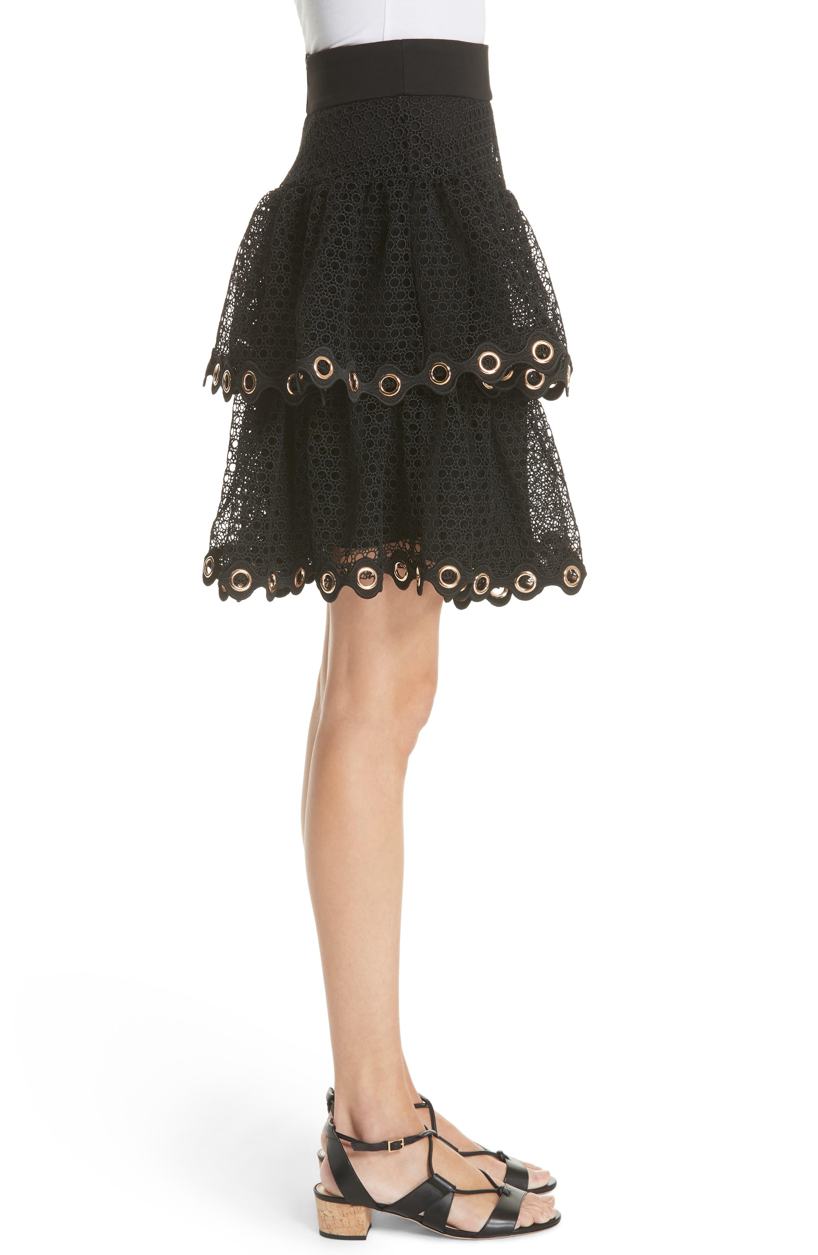 James Tiered Ruffle Grommet Skirt,                             Alternate thumbnail 3, color,