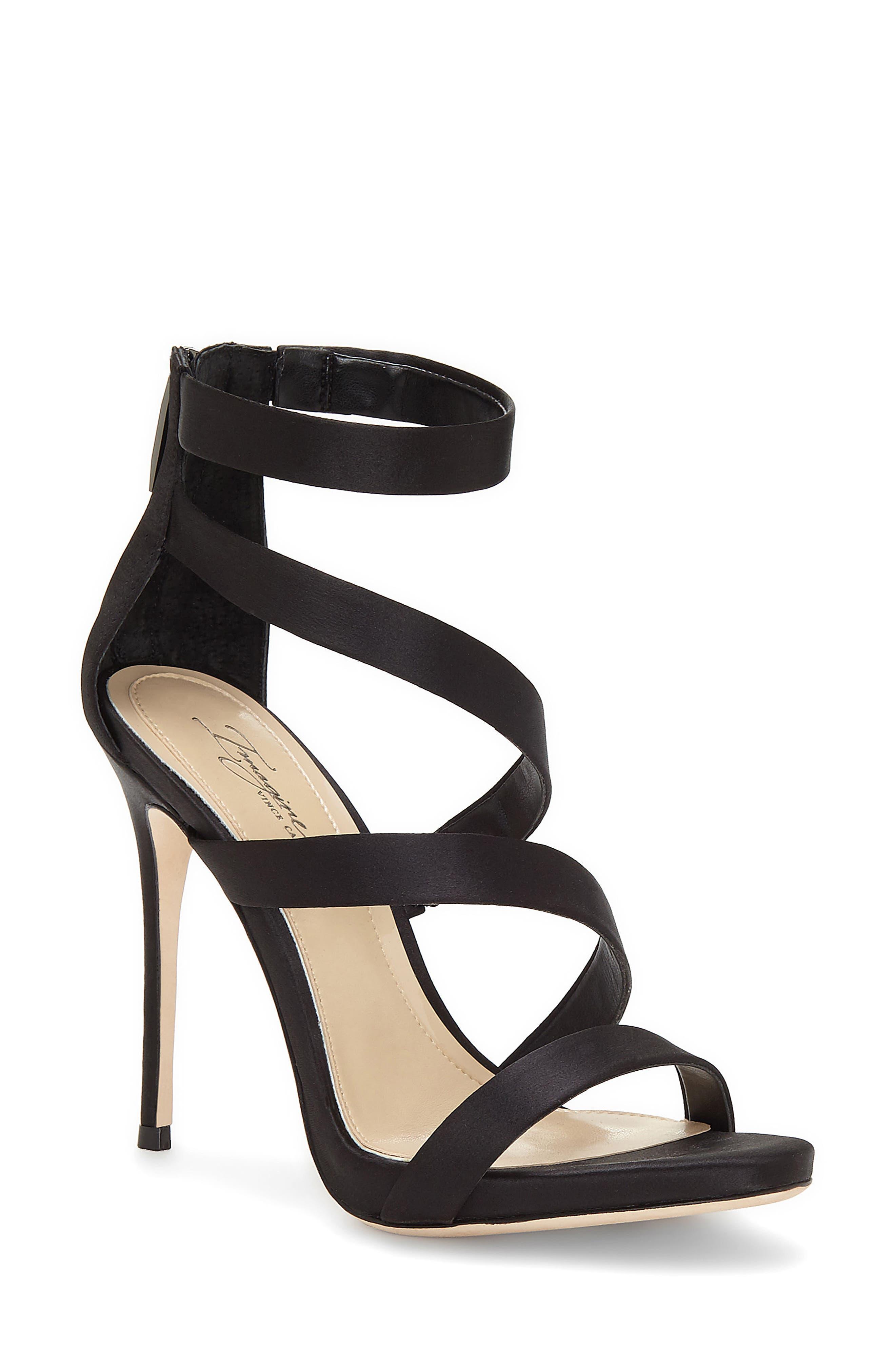 Imagine Vince Camuto Dalles Tall Strappy Sandal,                             Main thumbnail 1, color,                             BLACK SATIN