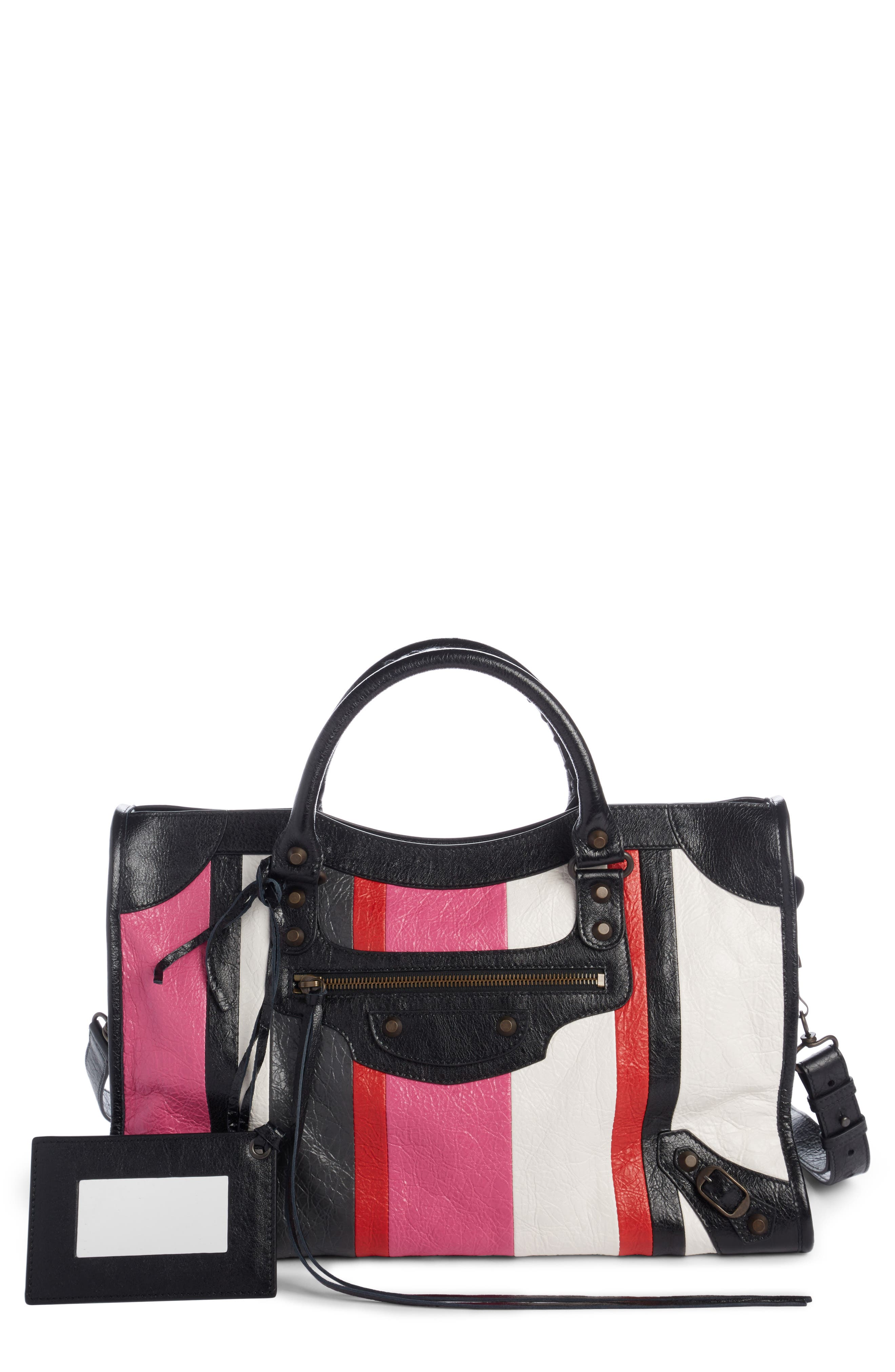 Classic City Stripe Leather Tote,                             Main thumbnail 1, color,                             672