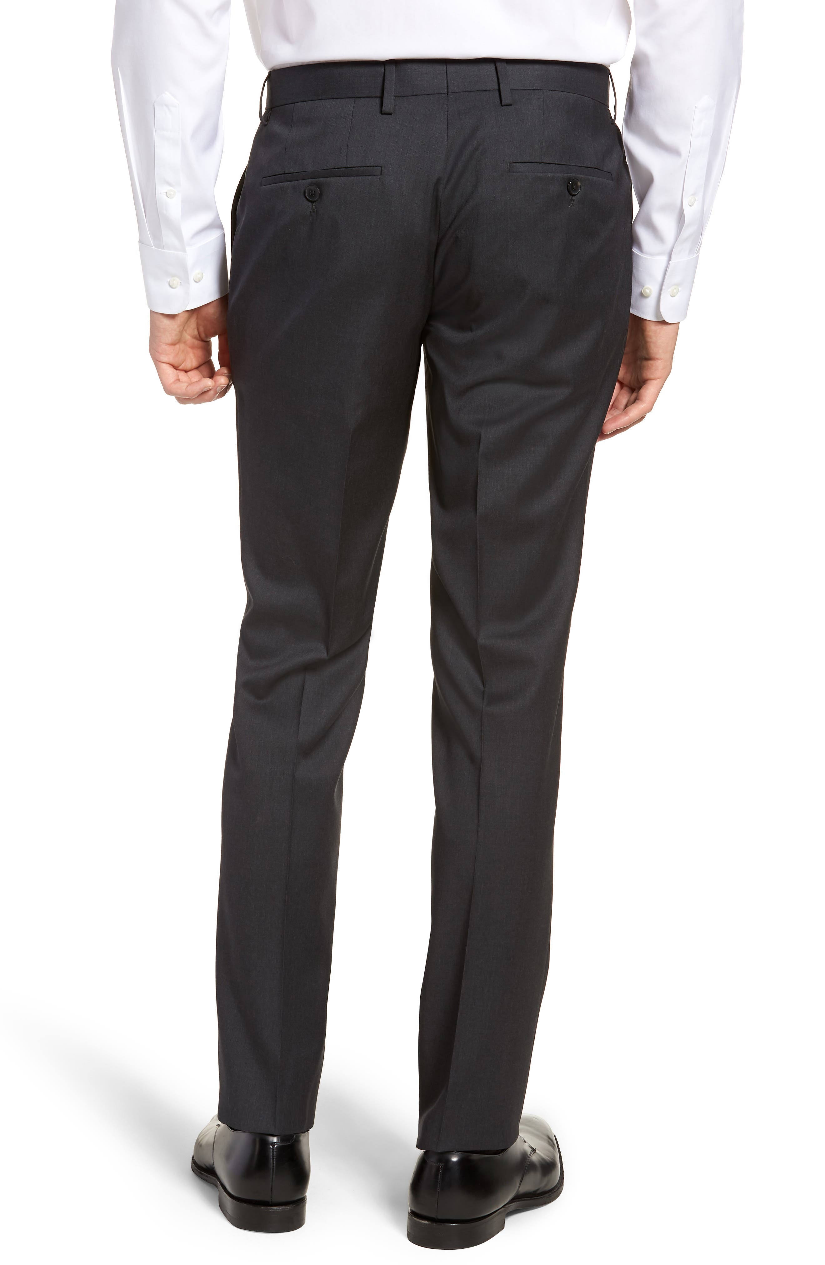 Gibson CYL Flat Front Solid Wool Trousers,                             Alternate thumbnail 2, color,                             DARK GREY