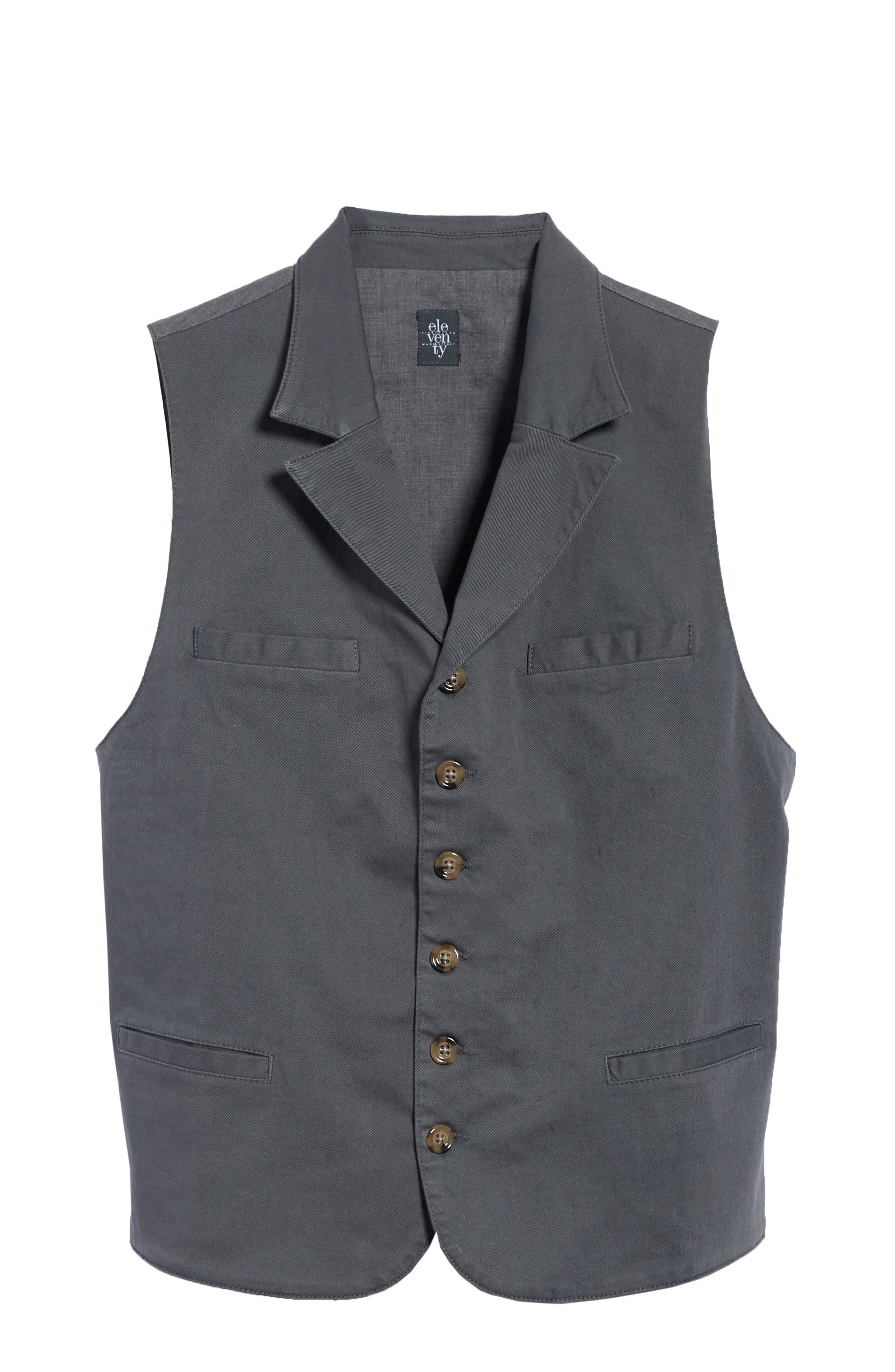 Slim Fit Stretch Cotton Twill Vest,                             Alternate thumbnail 5, color,                             DARK GREY