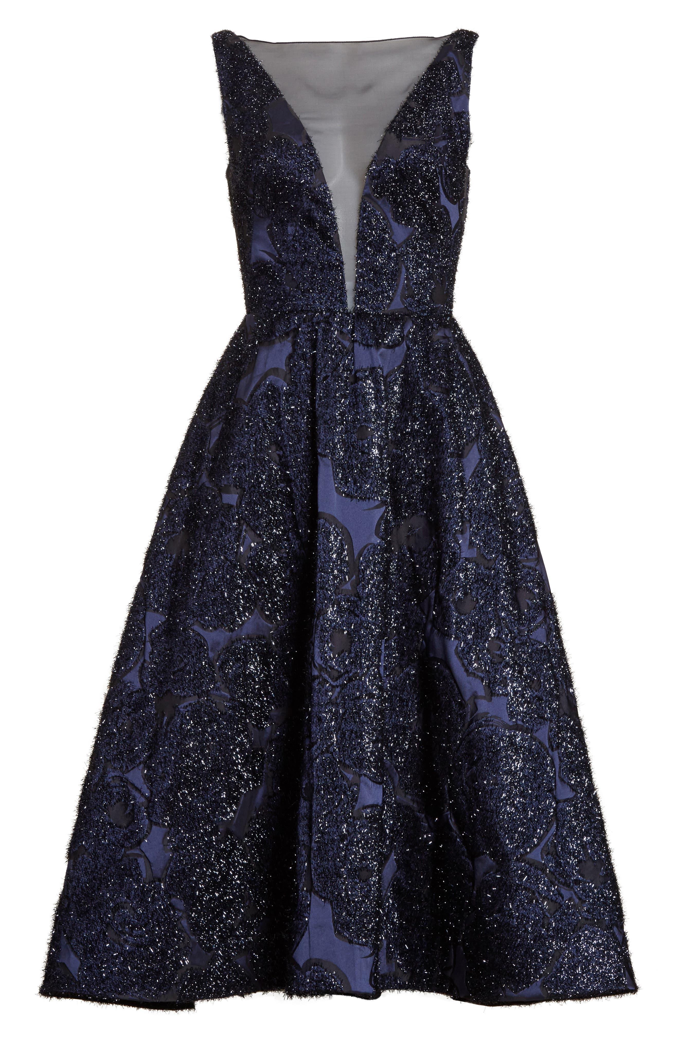Metallic Jacquard Fit & Flare Dress,                             Alternate thumbnail 6, color,
