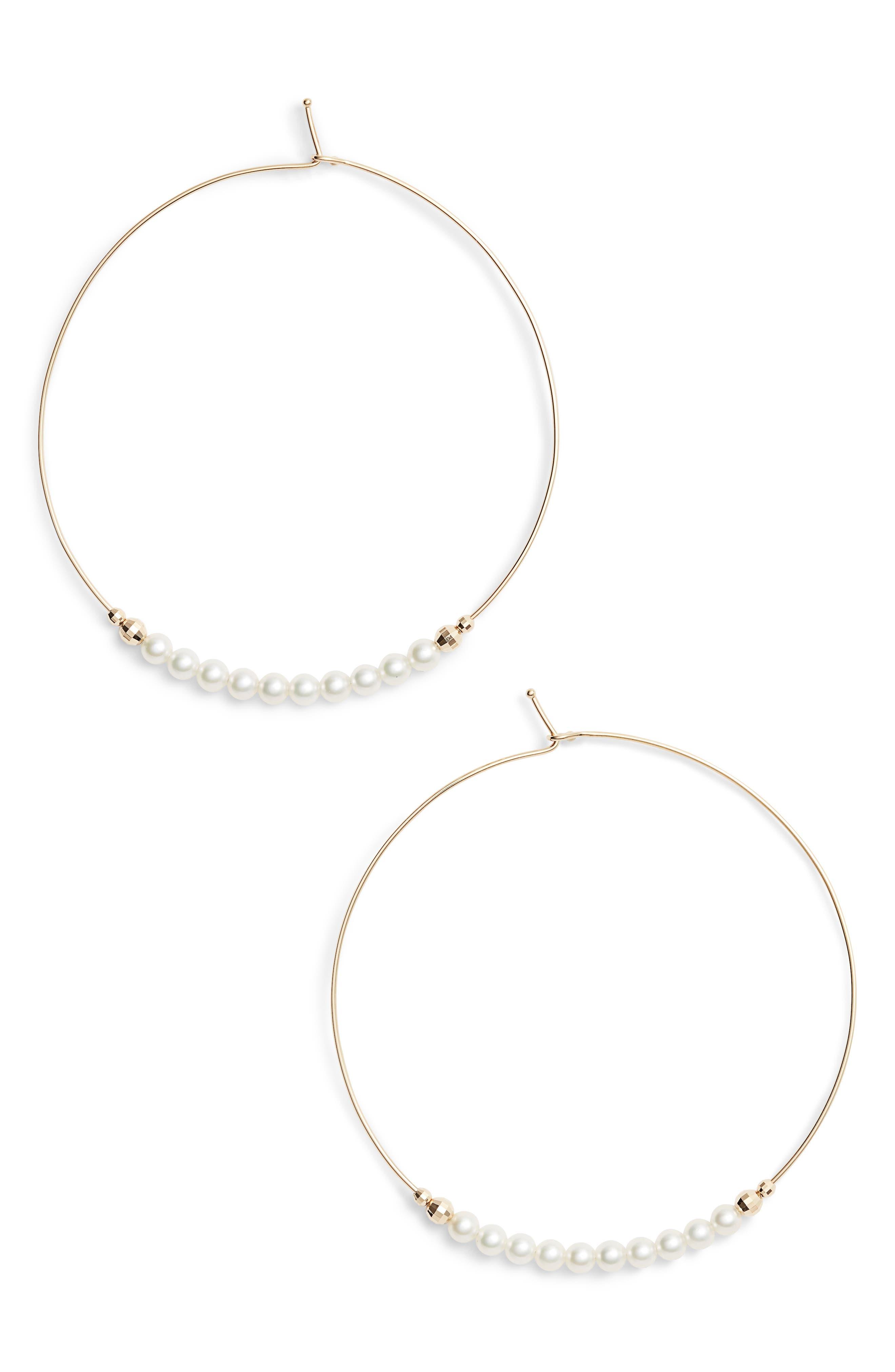 MIZUKI 14K Gold Large Pearl Hoop Earrings in Gold/ Pearl