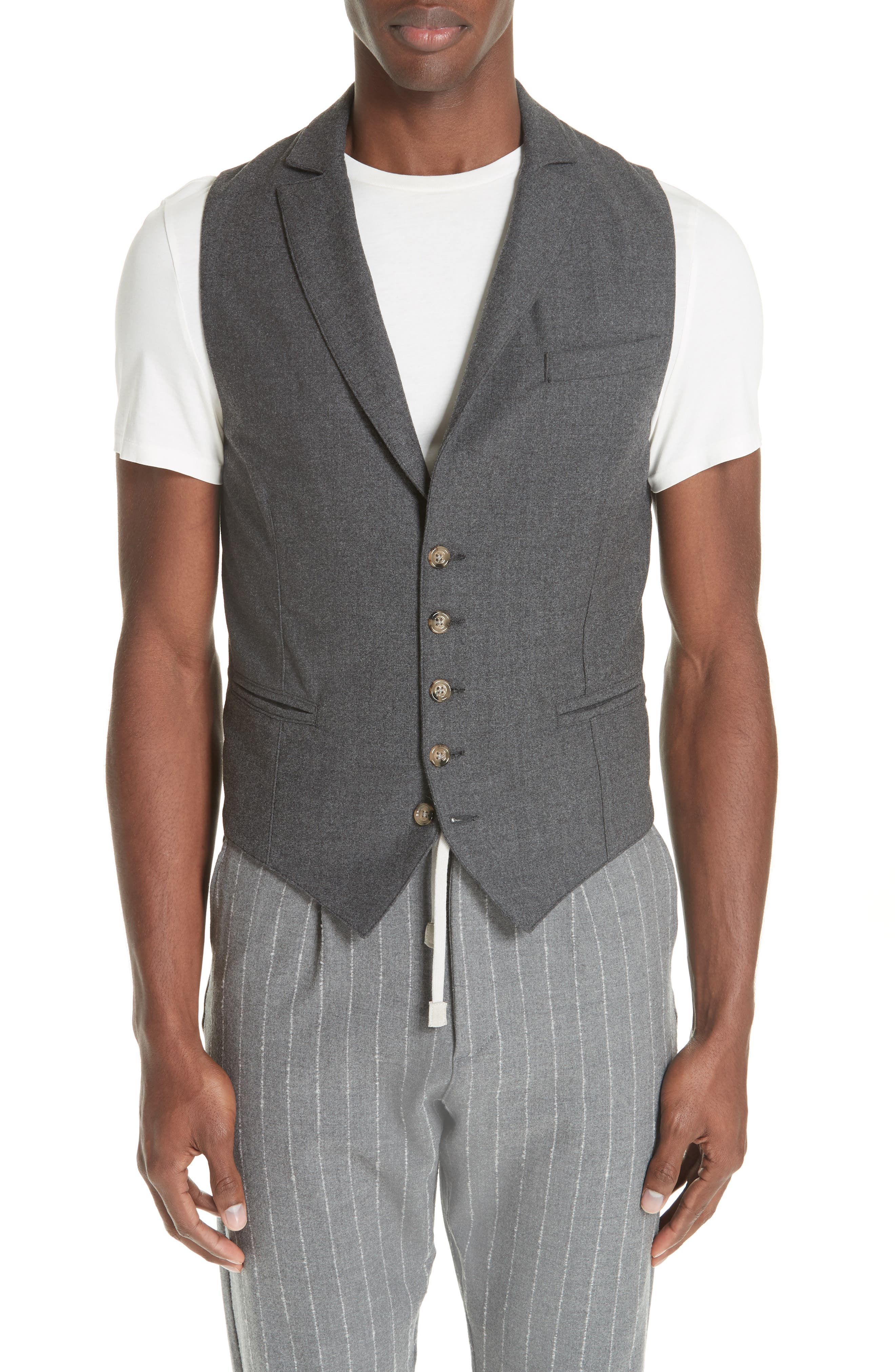 Trim Fit Stretch Wool Vest,                         Main,                         color, DARK GREY