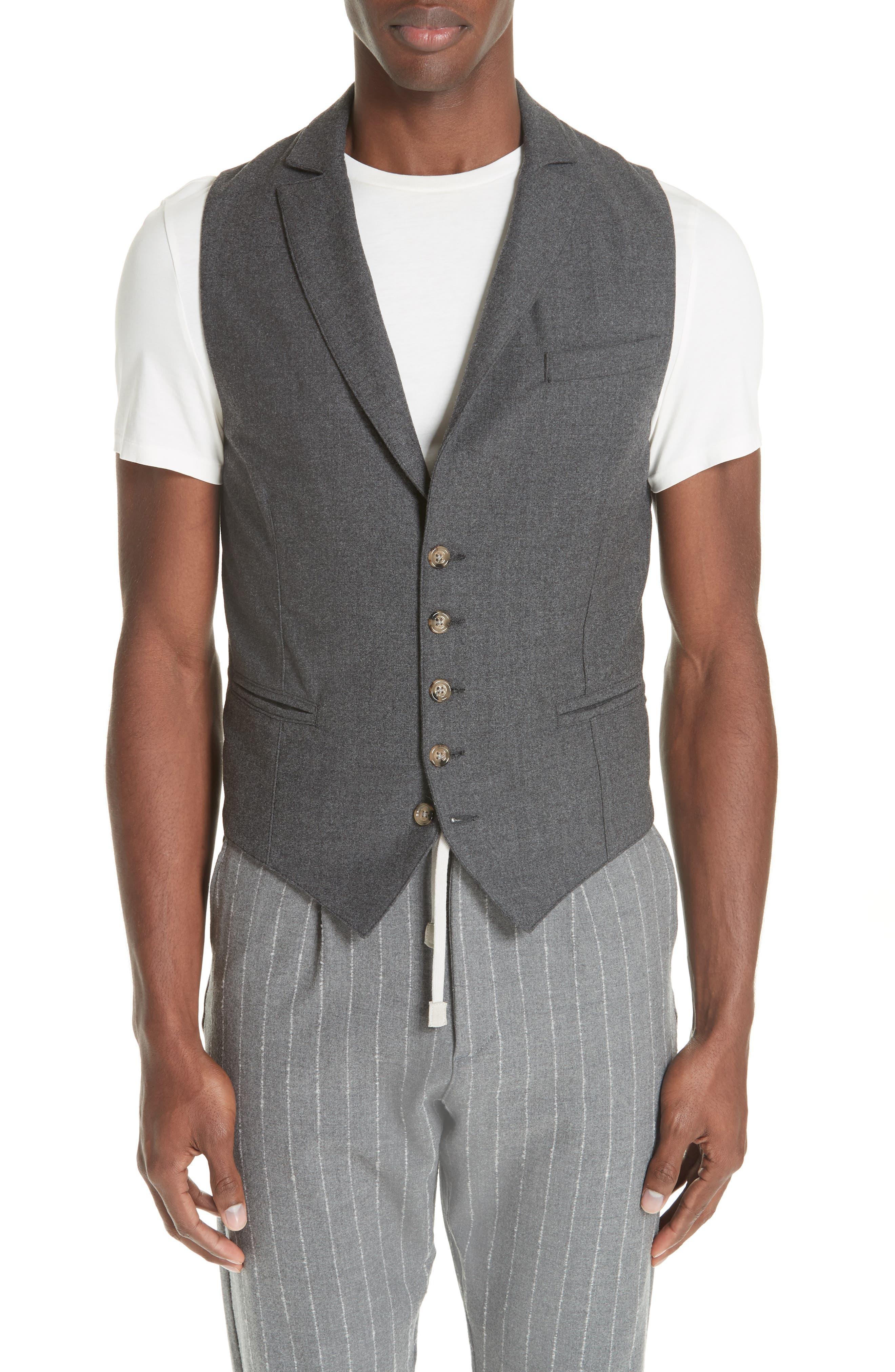 Trim Fit Stretch Wool Vest,                         Main,                         color, DARK GREY